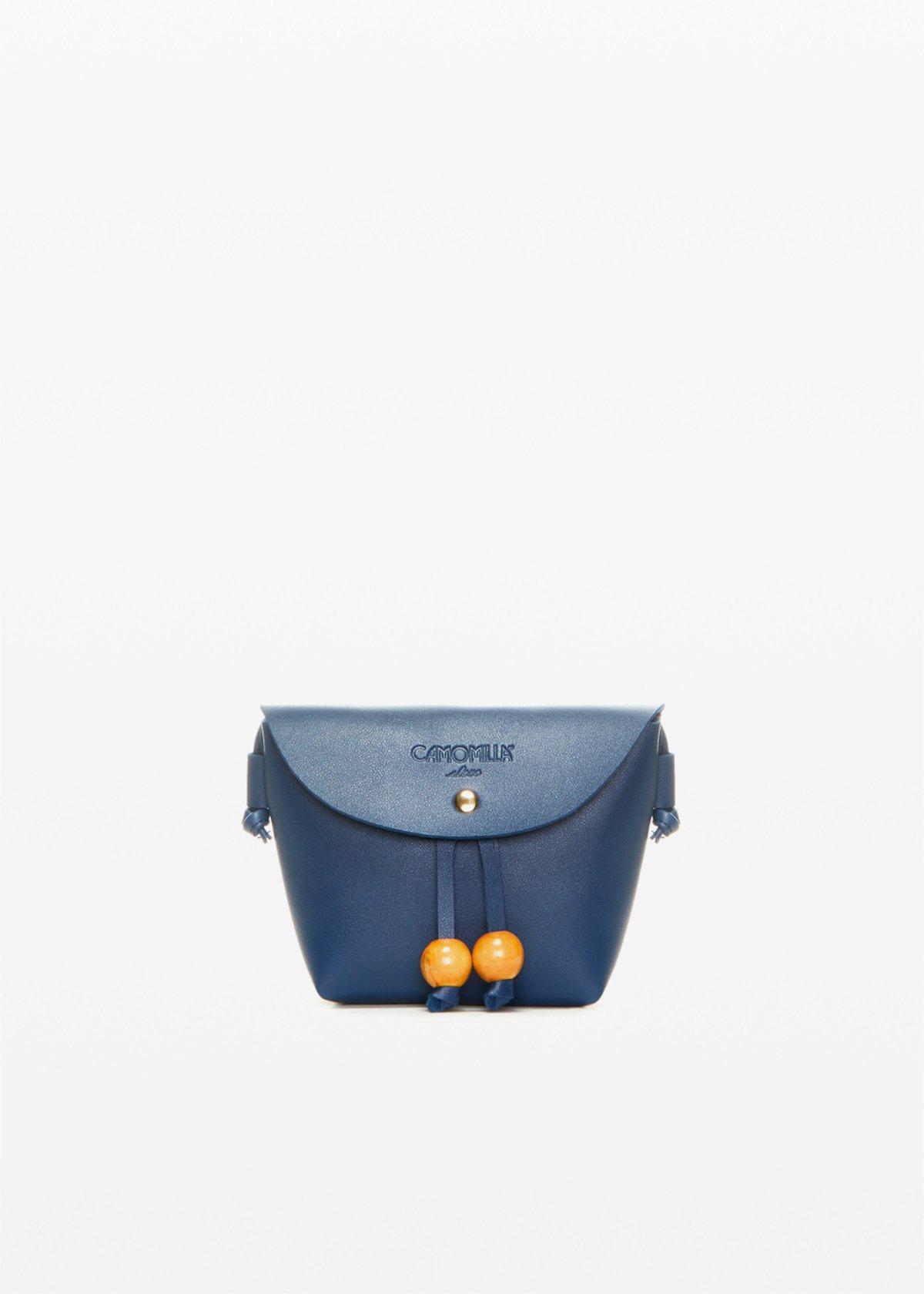 Small Bridget shoulder bag with decorative wooden boule - Medium Blue - Woman