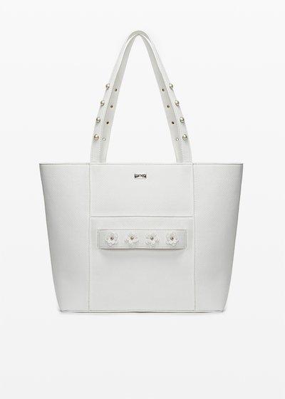 Shopping bag Boracay in ecopelle con dettaglio flowers