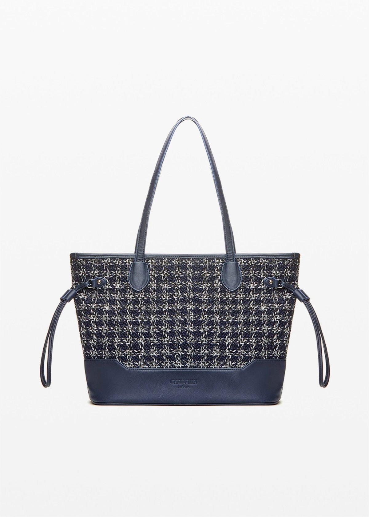 Shopping bag Beta boucle' effect - Blue / White Fantasia - Donna - Immagine categoria