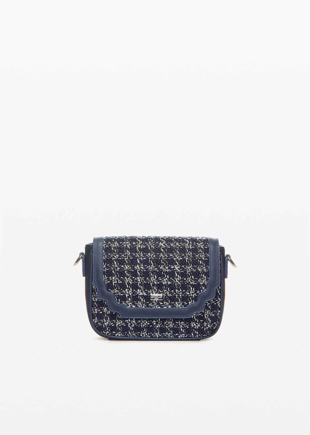 Bita faux leather crossbody bag boucle' effect - Blue / White Fantasia - Woman - Category image