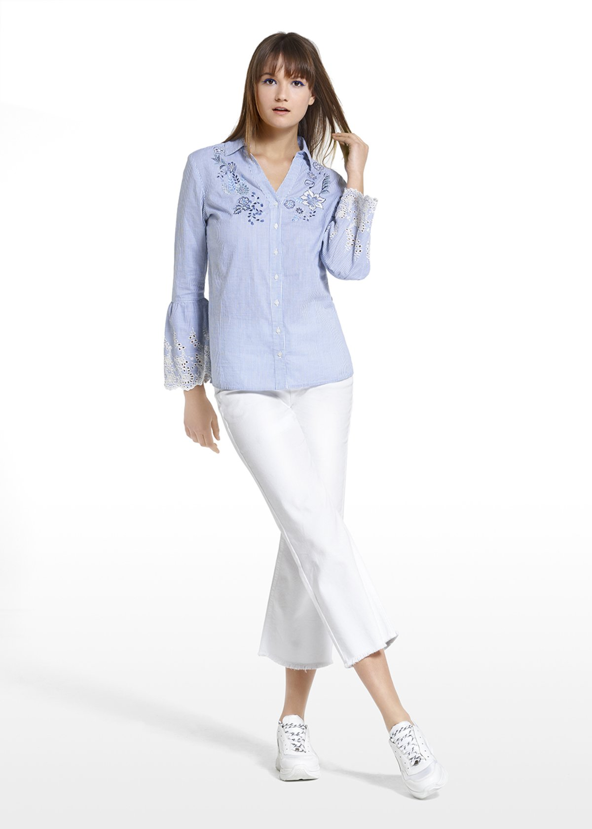 Colby blouse with flower embroidery at the neckline - Blue / White Stripes - Woman