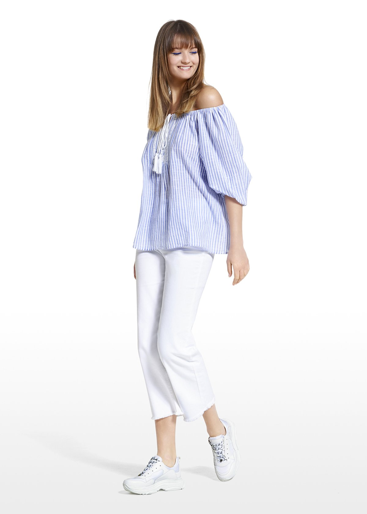 Charley blouse fantasy stripes with embroidery on the front - Blue / White Stripes - Woman