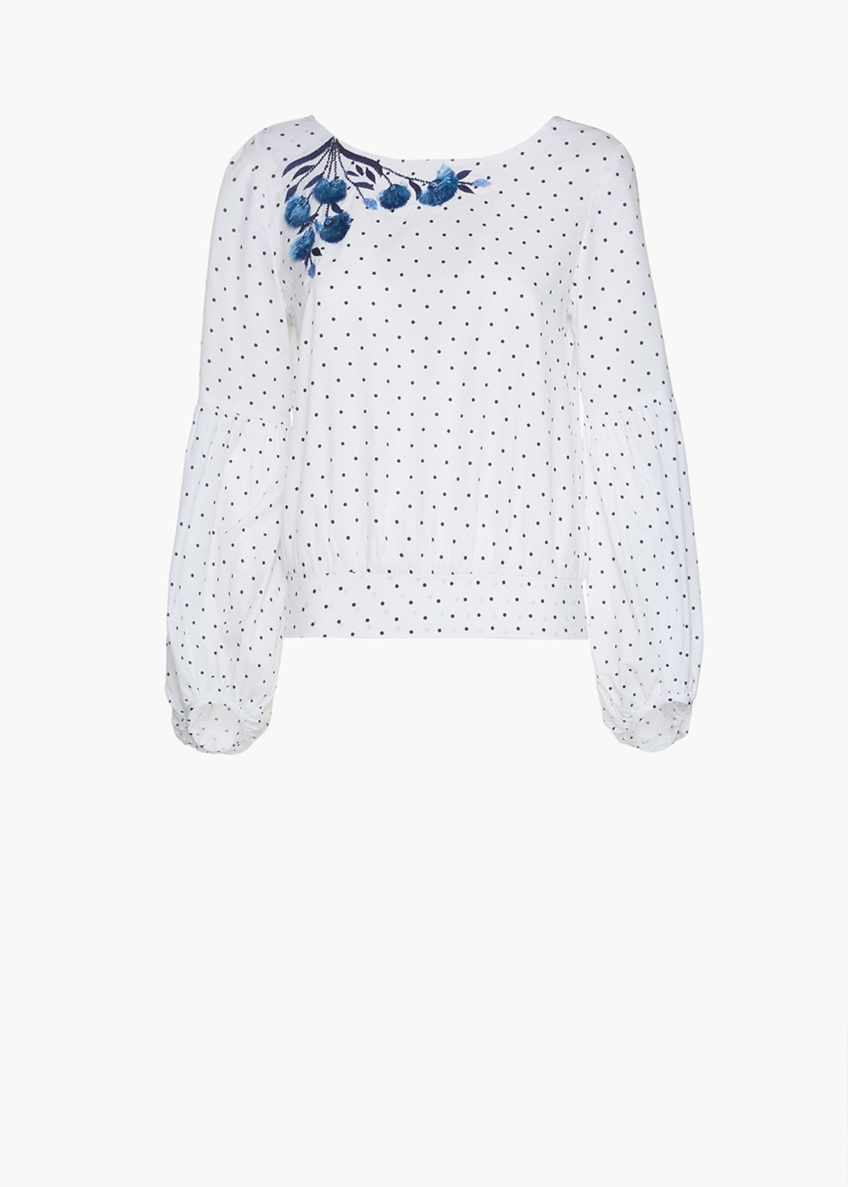 Cyprien blouse with polka dot print and boat neckline - White / Medium Blue - Woman