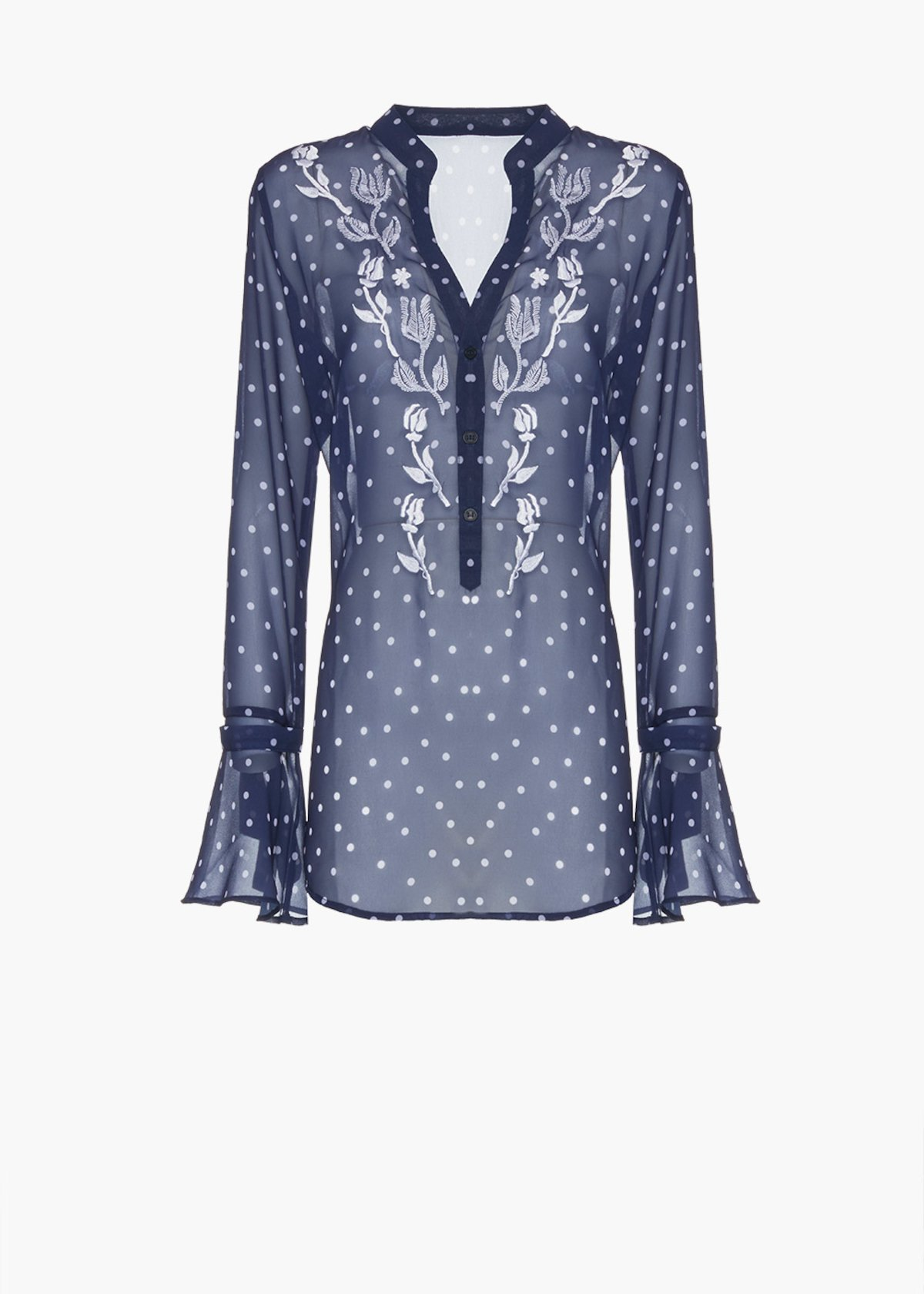 Chretien blouse in georgette with flower embroidery on the front - Medium Blue / White Pois - Woman