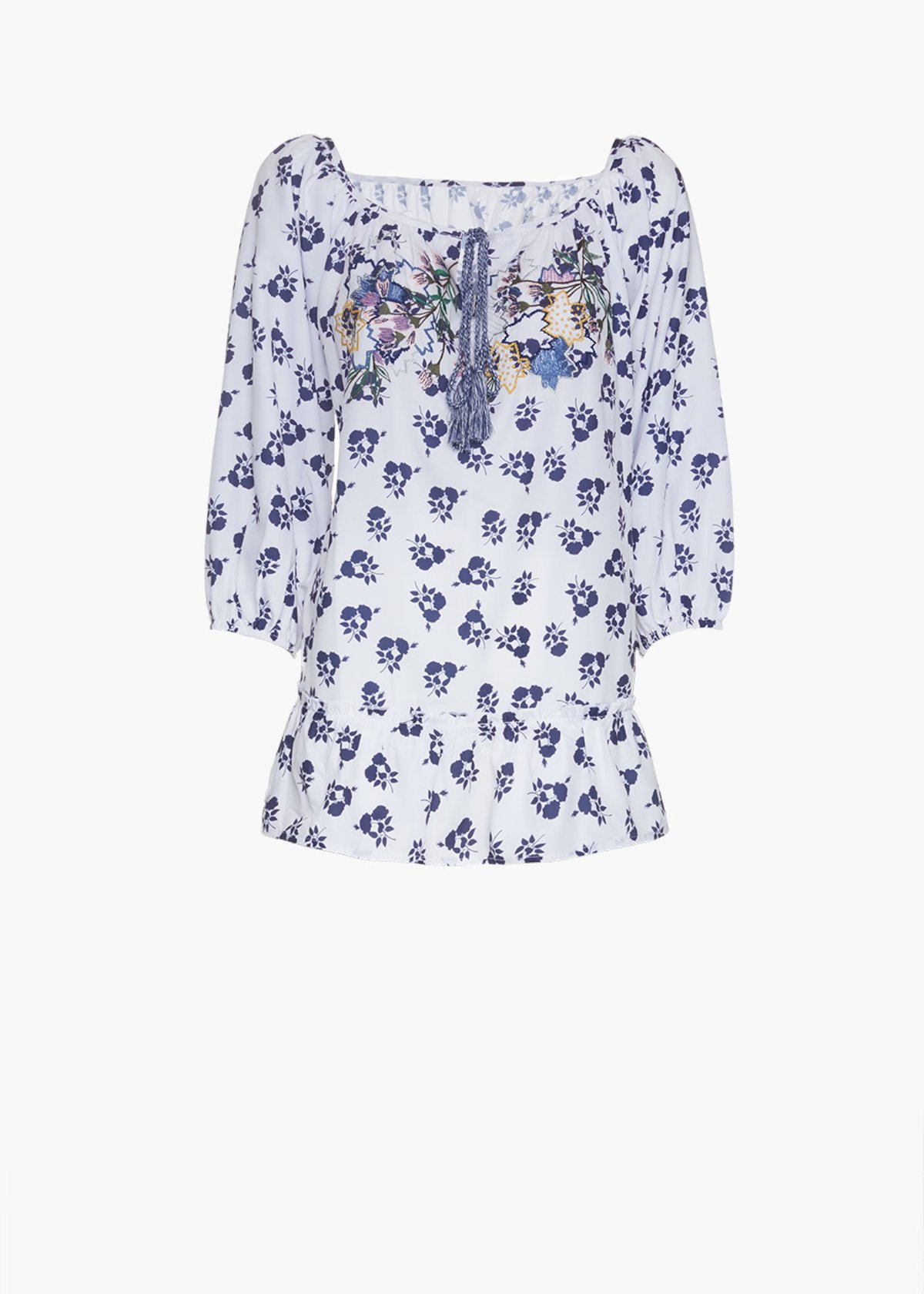 Courtney flower printed blouse with embroidery detail - White / Blue Fantasia - Woman