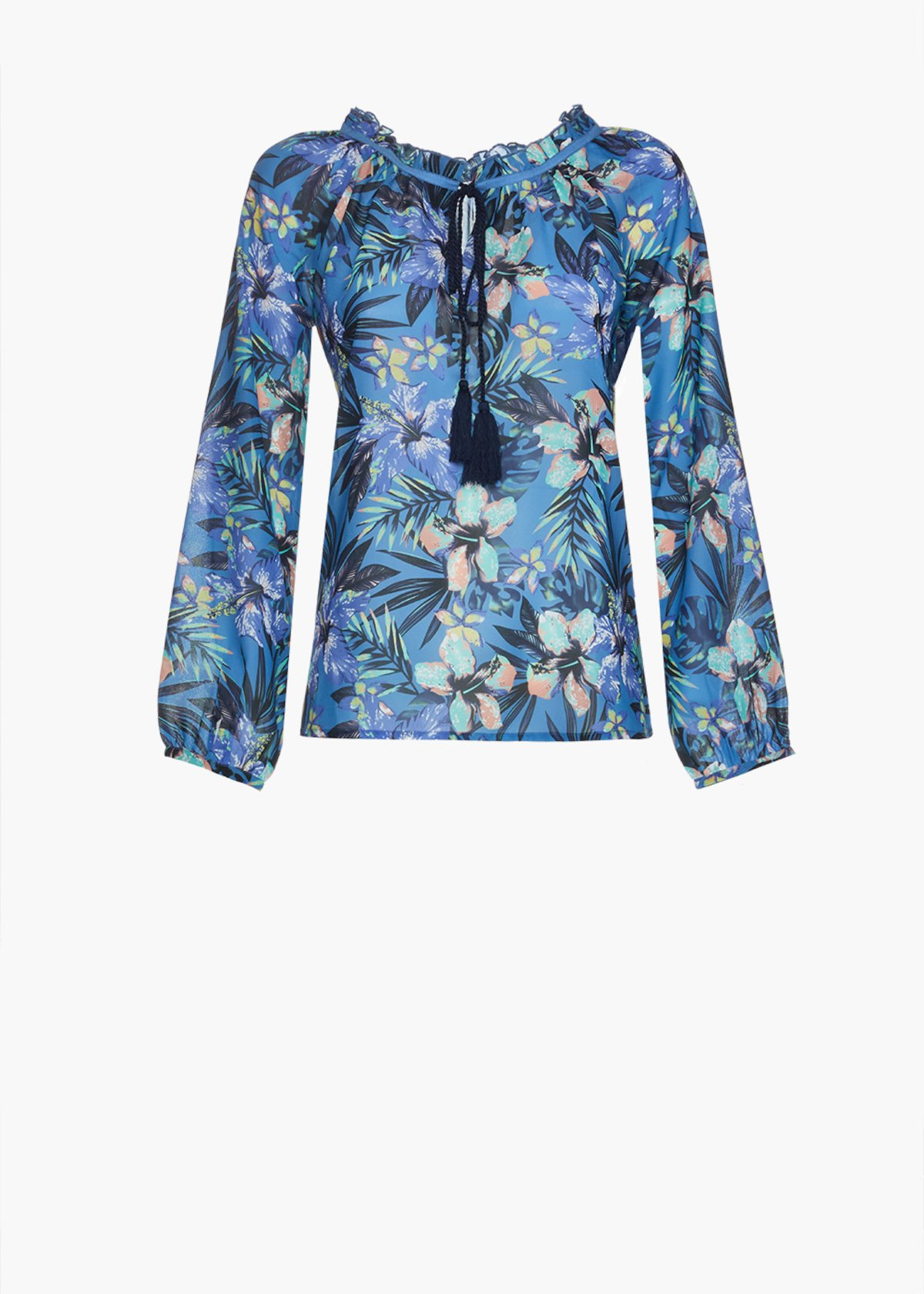 Cleof blouse in georgette flower print with round neckline - Blue / Lilac Fantasia - Woman