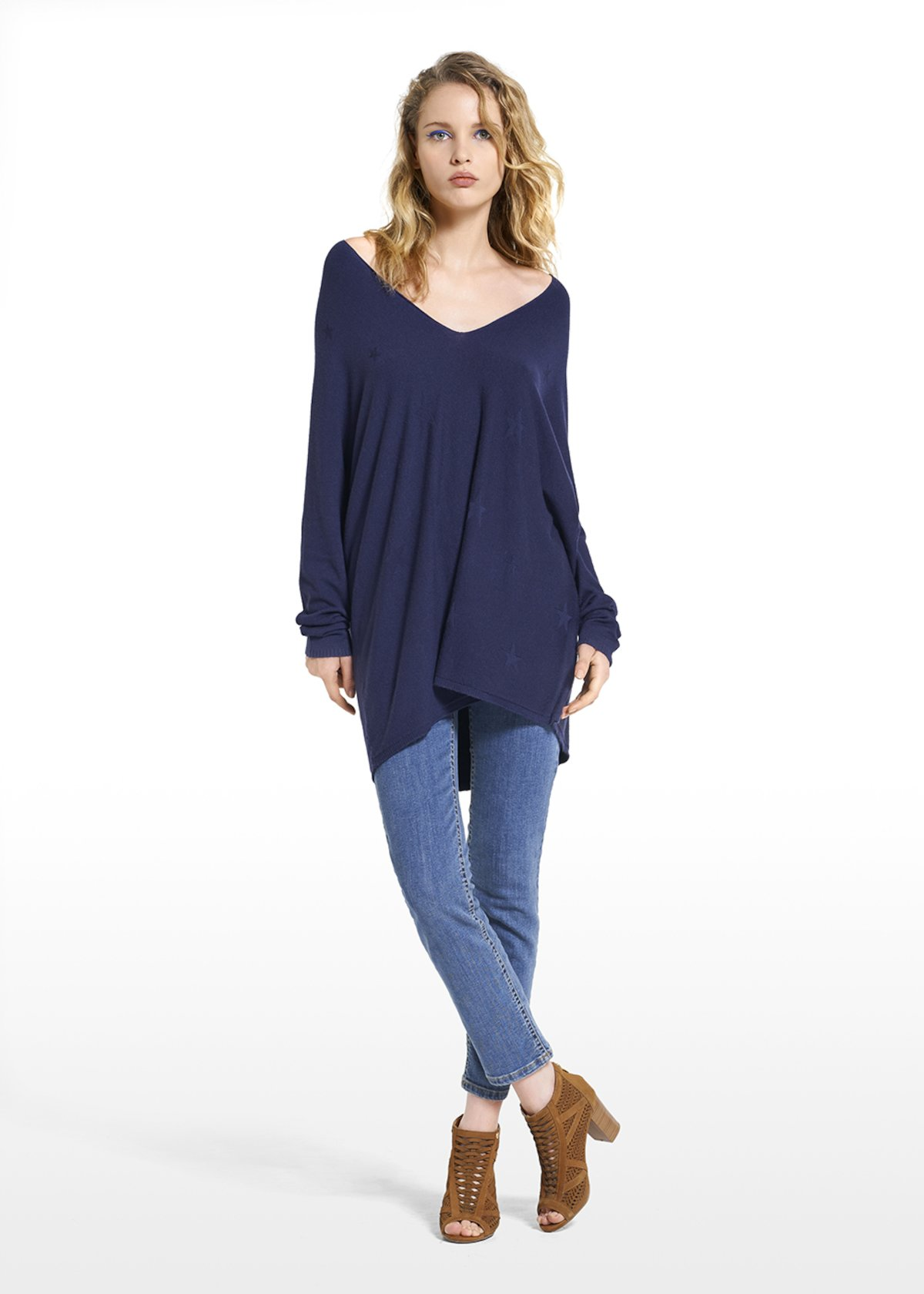 Sweater Mikel with imprimé workmanship and V-neckline - Medium Blue - Woman
