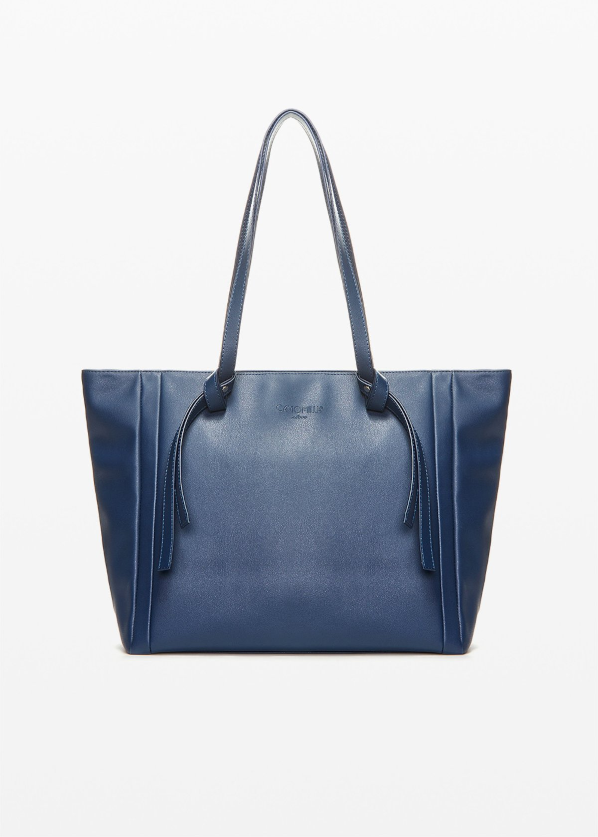 Bodak faux leather shopping bag with knot detail on the handles - Medium Blue - Woman