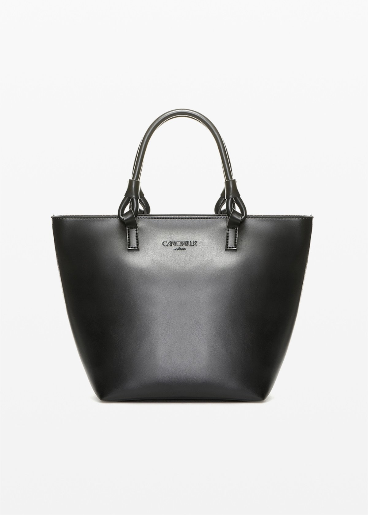 Shopping bag Banna in ecopelle con manici ad anello - Black