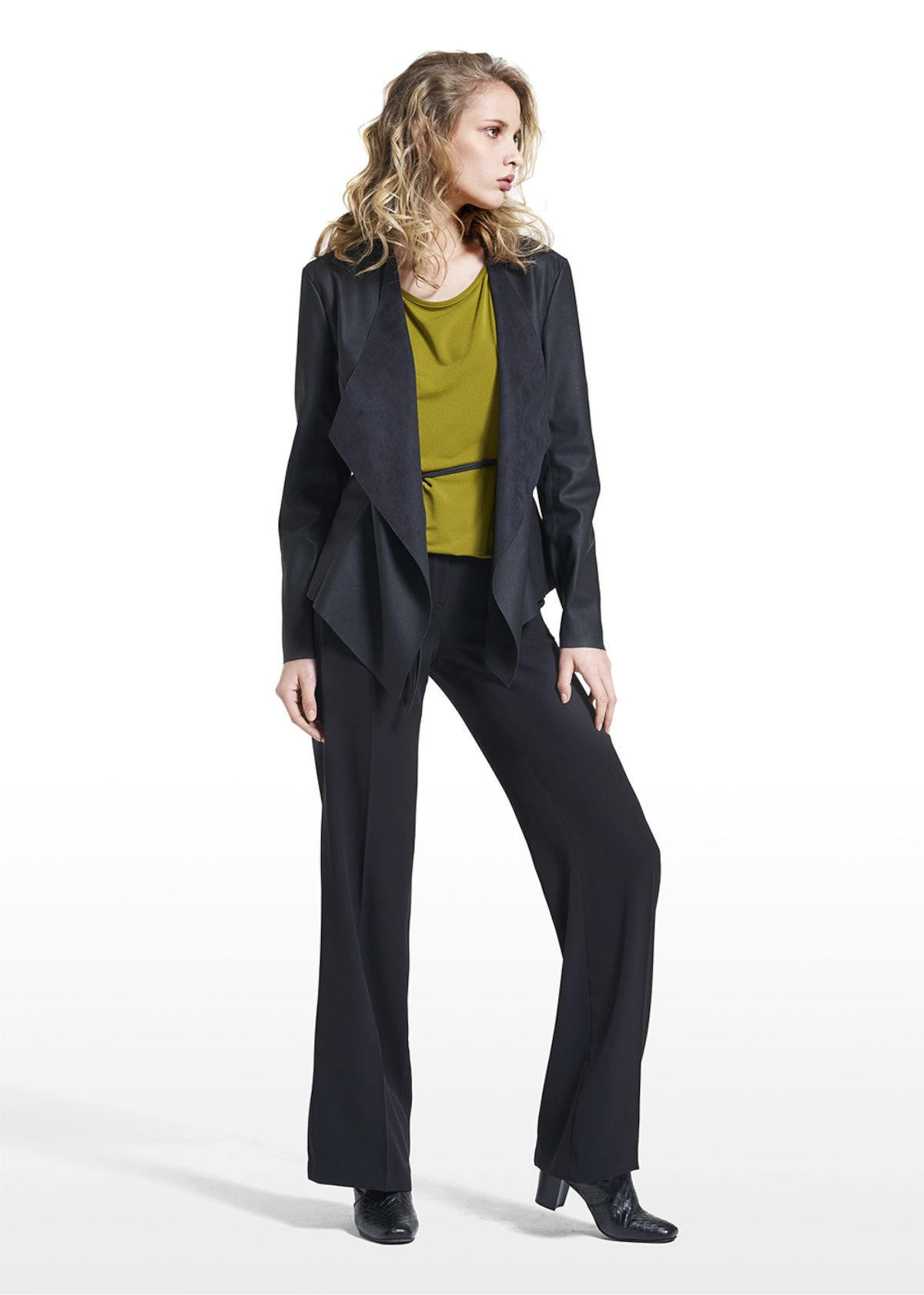 Jacket in faux leather Claudy with bow at the centre - Black - Woman - Category image