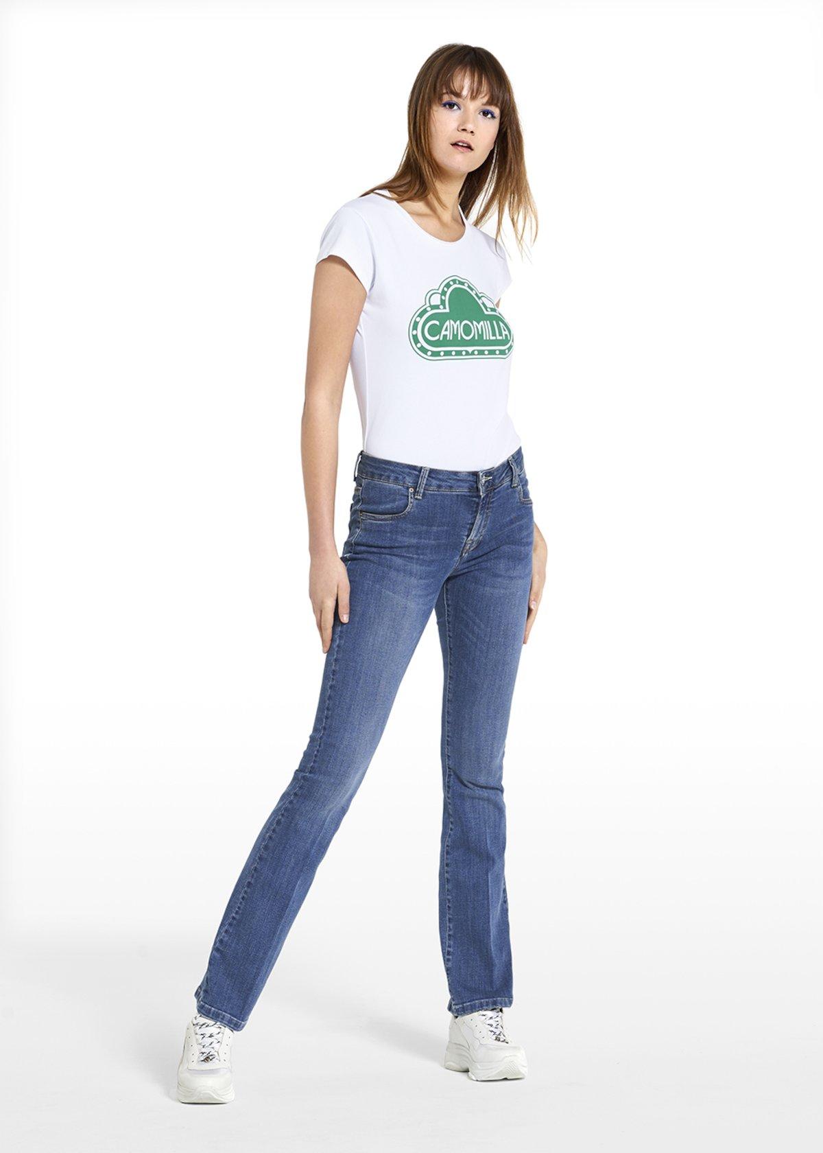 Jeans a zampa Darius con bottone personalizzato - Denim - Donna