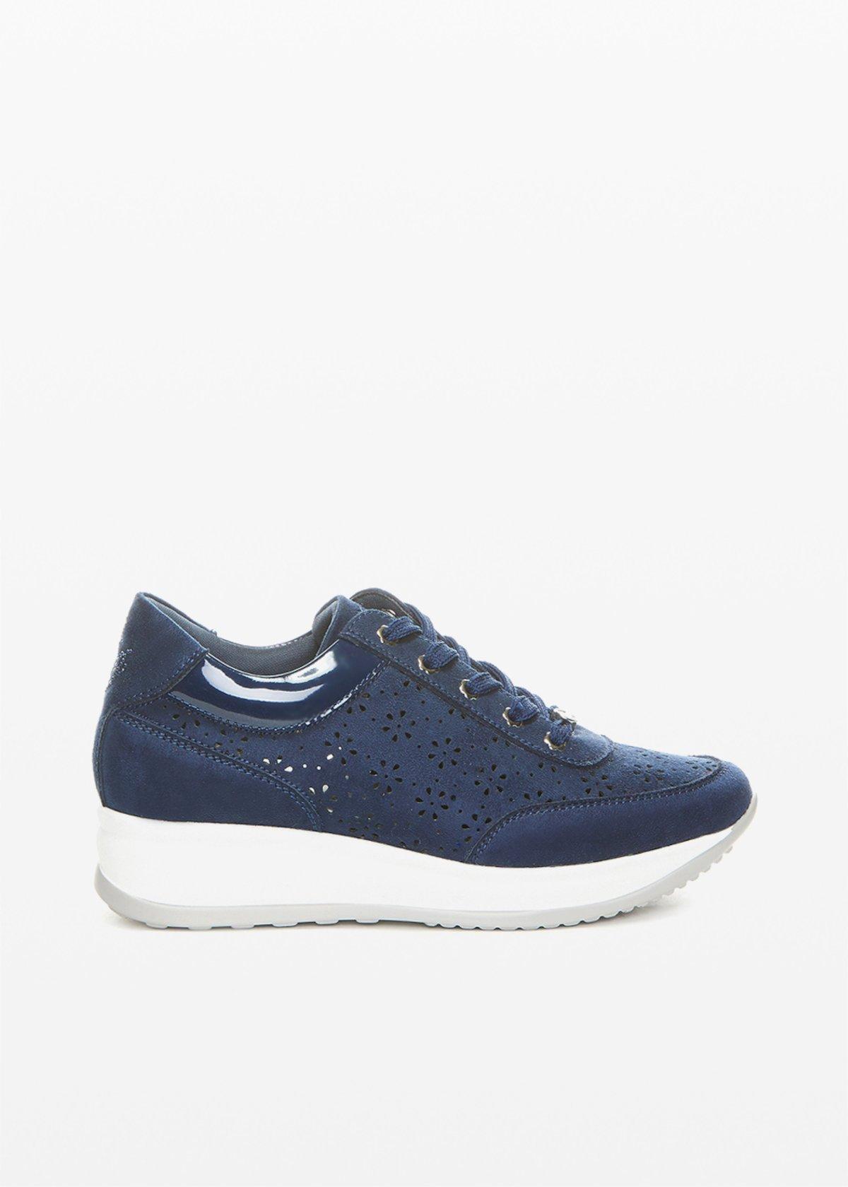 Sneakers Sindy in ecosuede con trafori-flower - Dark Blue - Donna