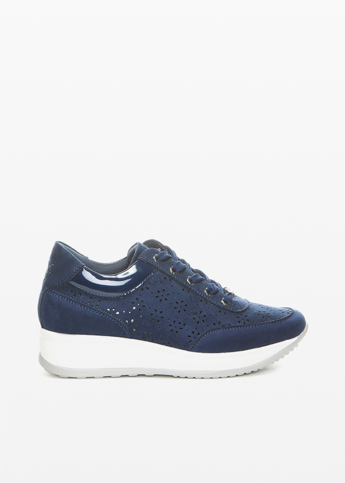 Faux suede Sindy sneakers with flower perforations - Dark Blue - Woman
