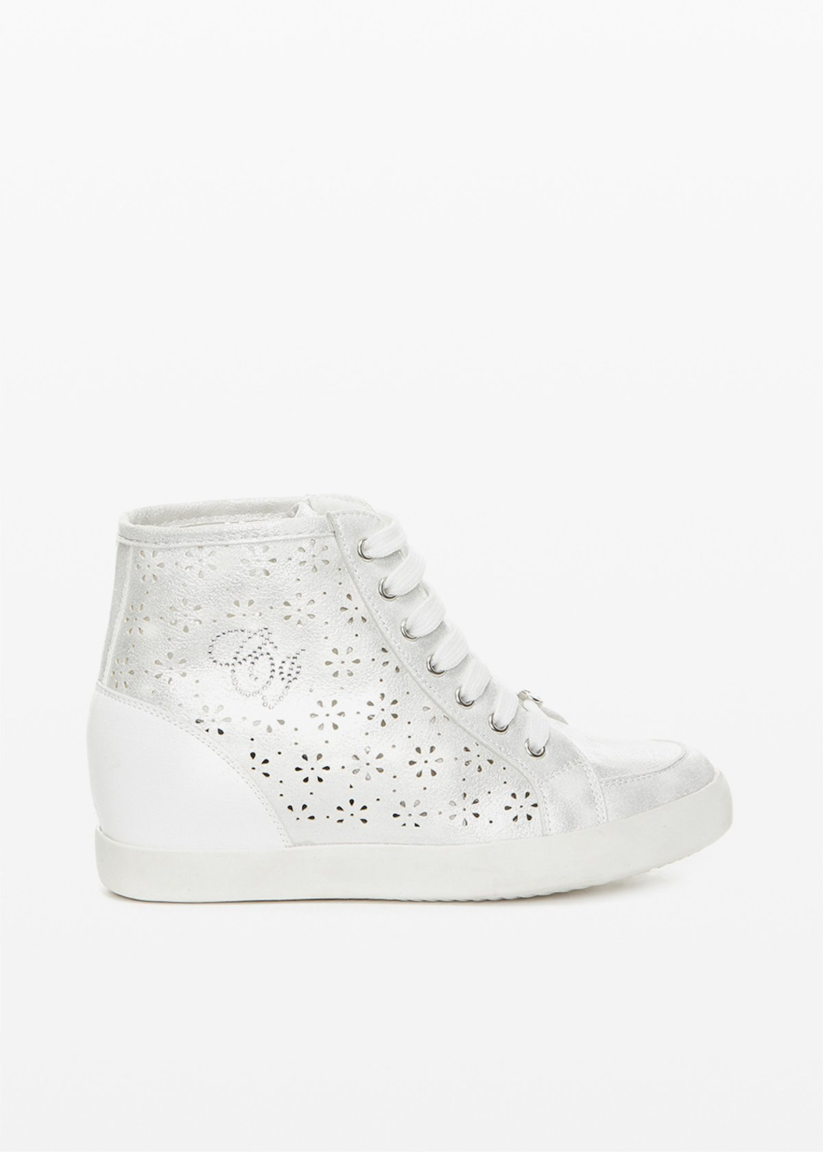 Shery perforated faux leather sneakers - Silver - Woman