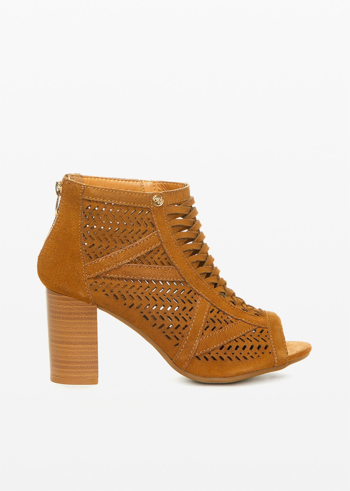 Real cow suede Sharyl shoes perforated design - Tobacco - Woman
