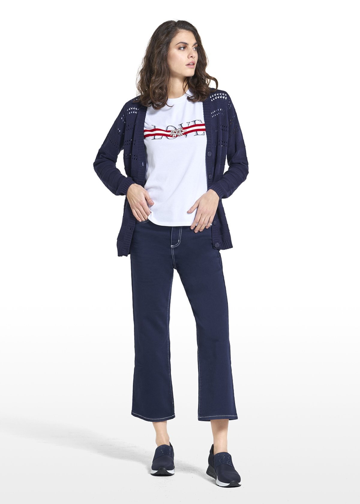 Pants Plinio with white broguing and CI embroidery - Medium Blue - Woman