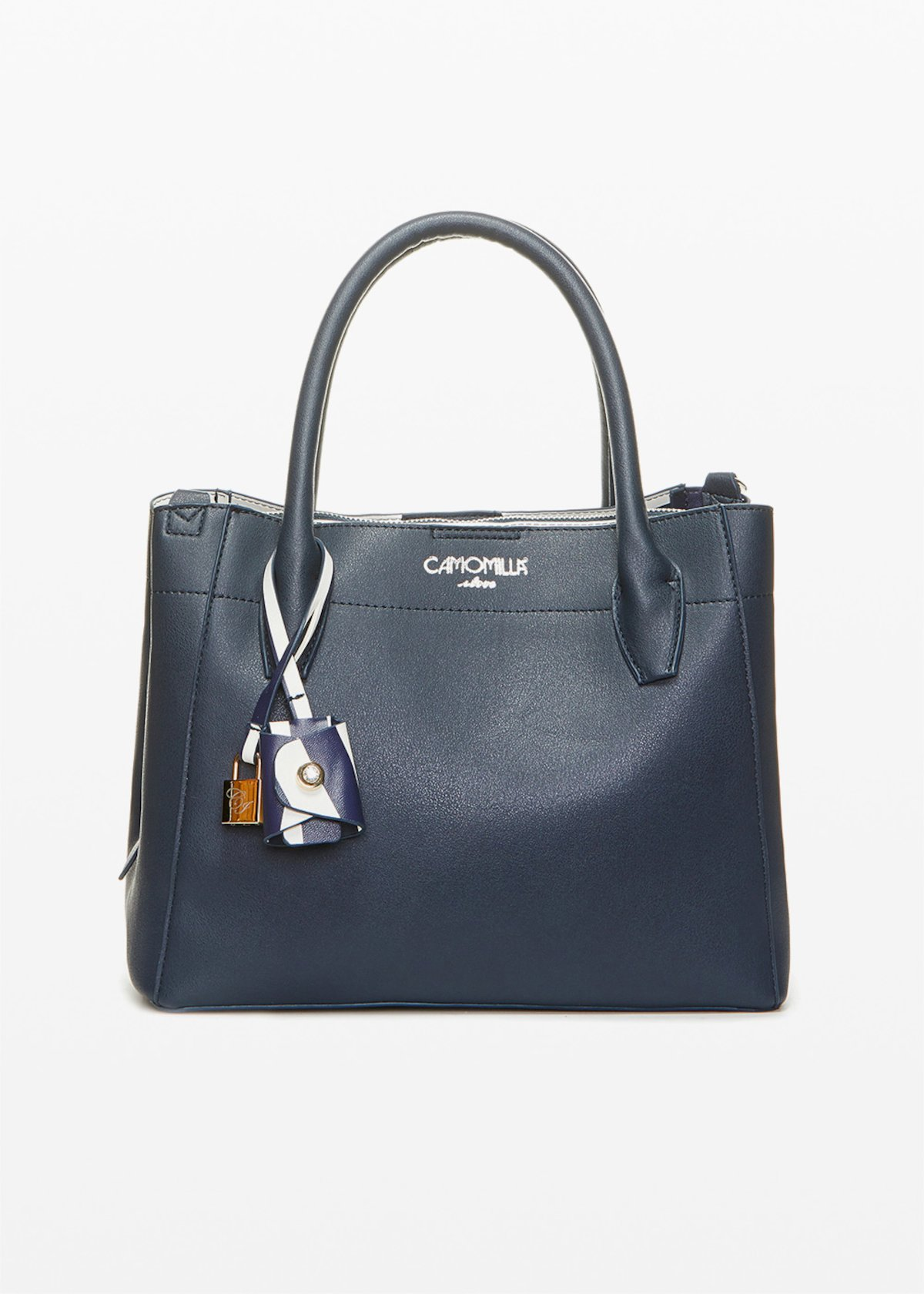 Bruna faux leather bag with CI padlock detail - Medium Blue - Woman
