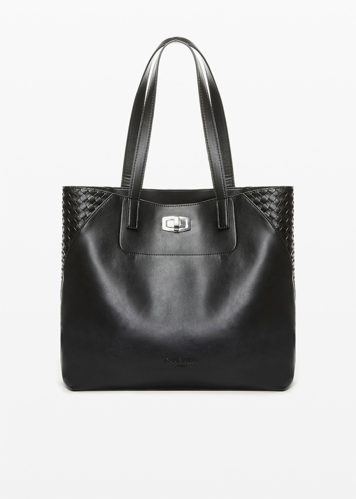 Shopping bag Bily in ecopelle con dettaglio intreccio - Black - Donna