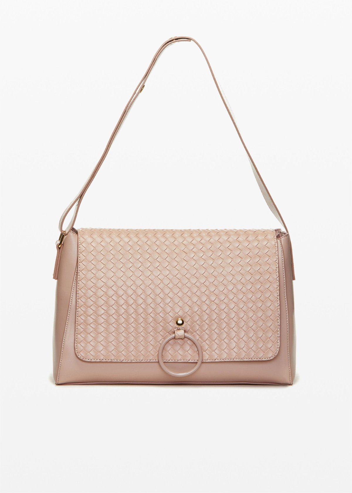 Boraliabr faux leather shoulder bag with braided flap - Calcite - Woman - Category image