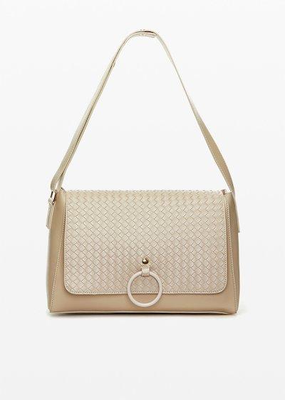 Shoulder bag  Boraliabr in ecopelle con patta braided