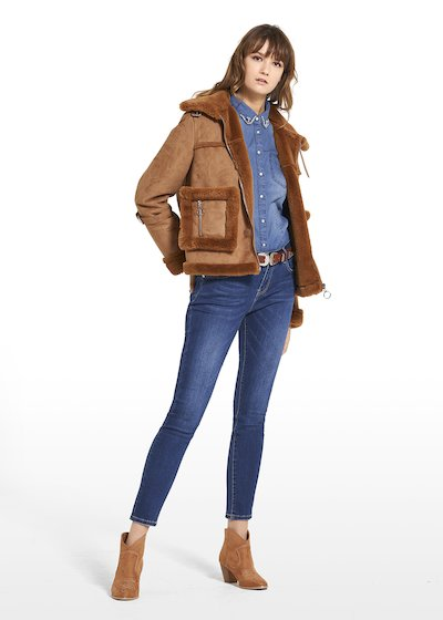 Jacket Gail in fake fur with collar and central zipper