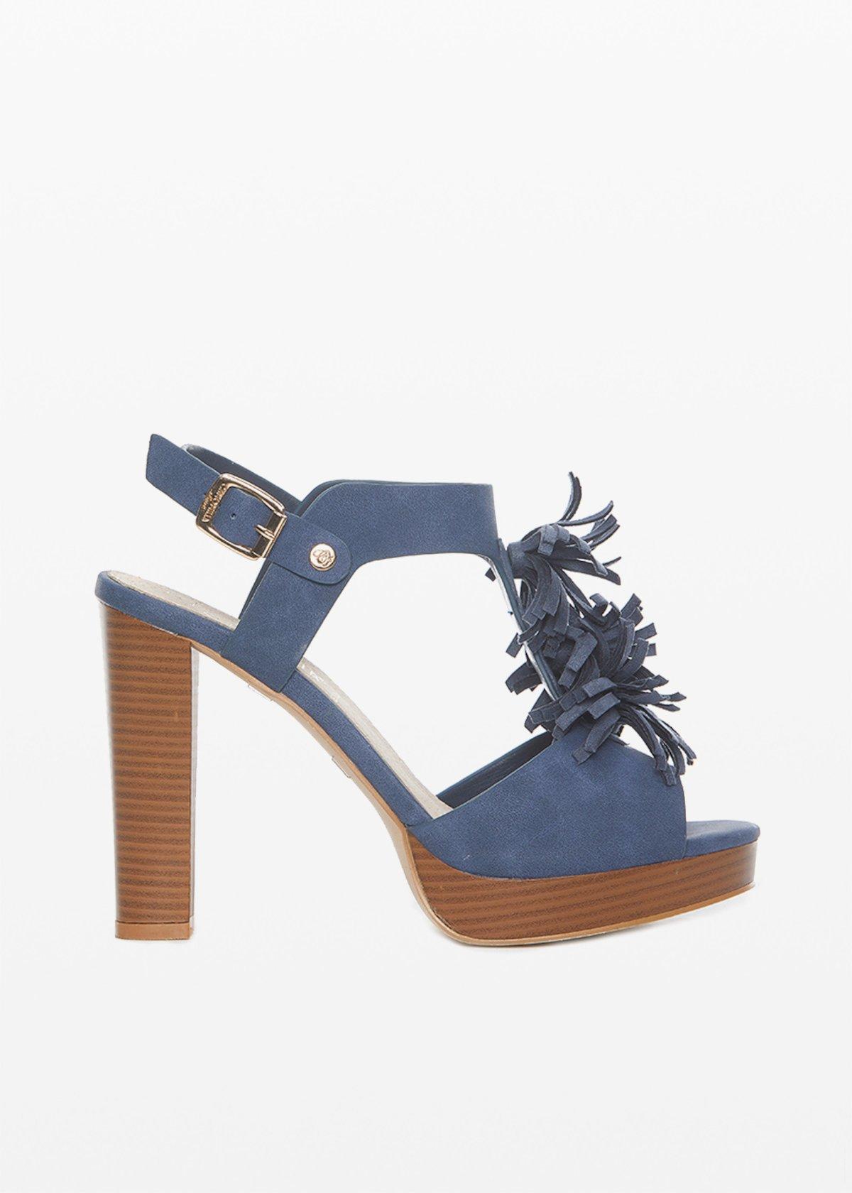 Samoah sandal with tassel and high heel - Medium Blue - Woman - Category image
