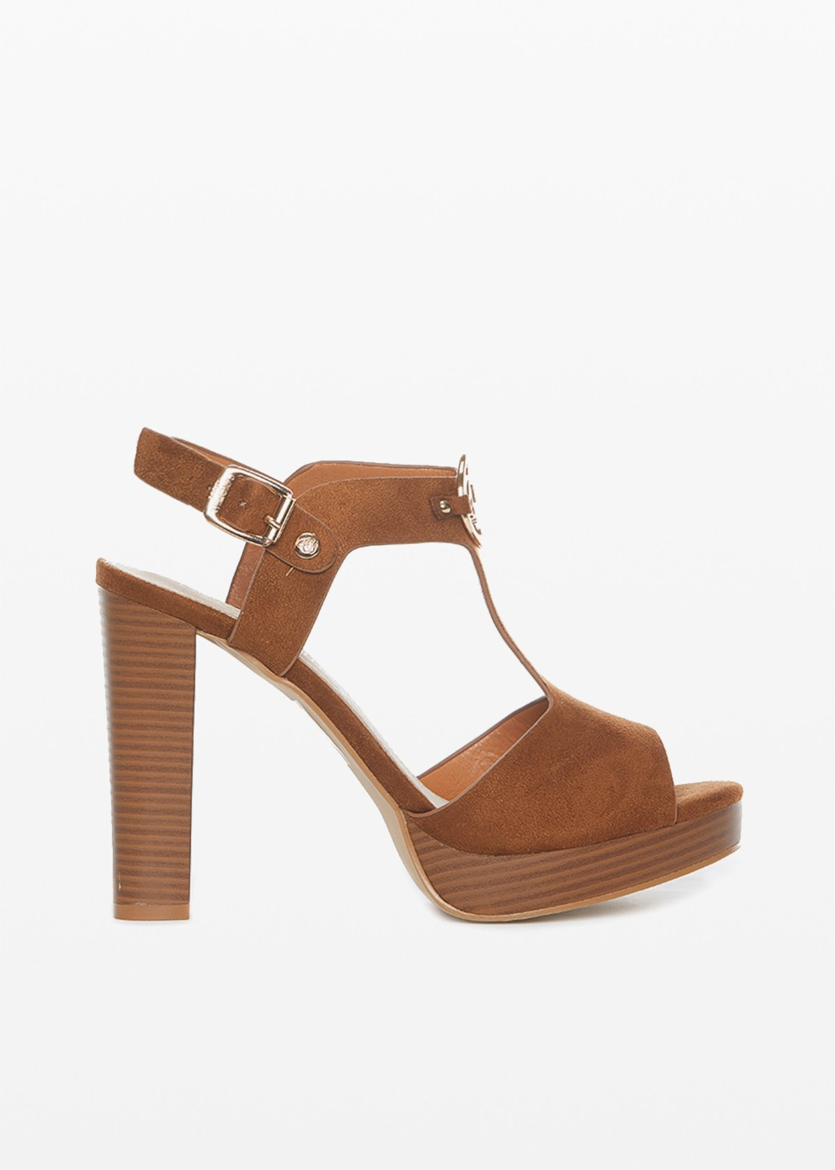 Sexia sandal with light gold metal ring - Tobacco - Woman - Category image