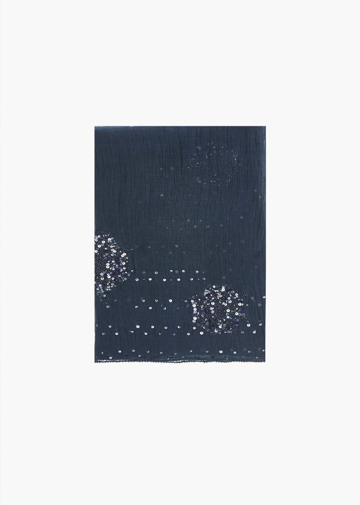 Spiry silk and cotton scarf with sequins detail - Blue / Mineral - Woman