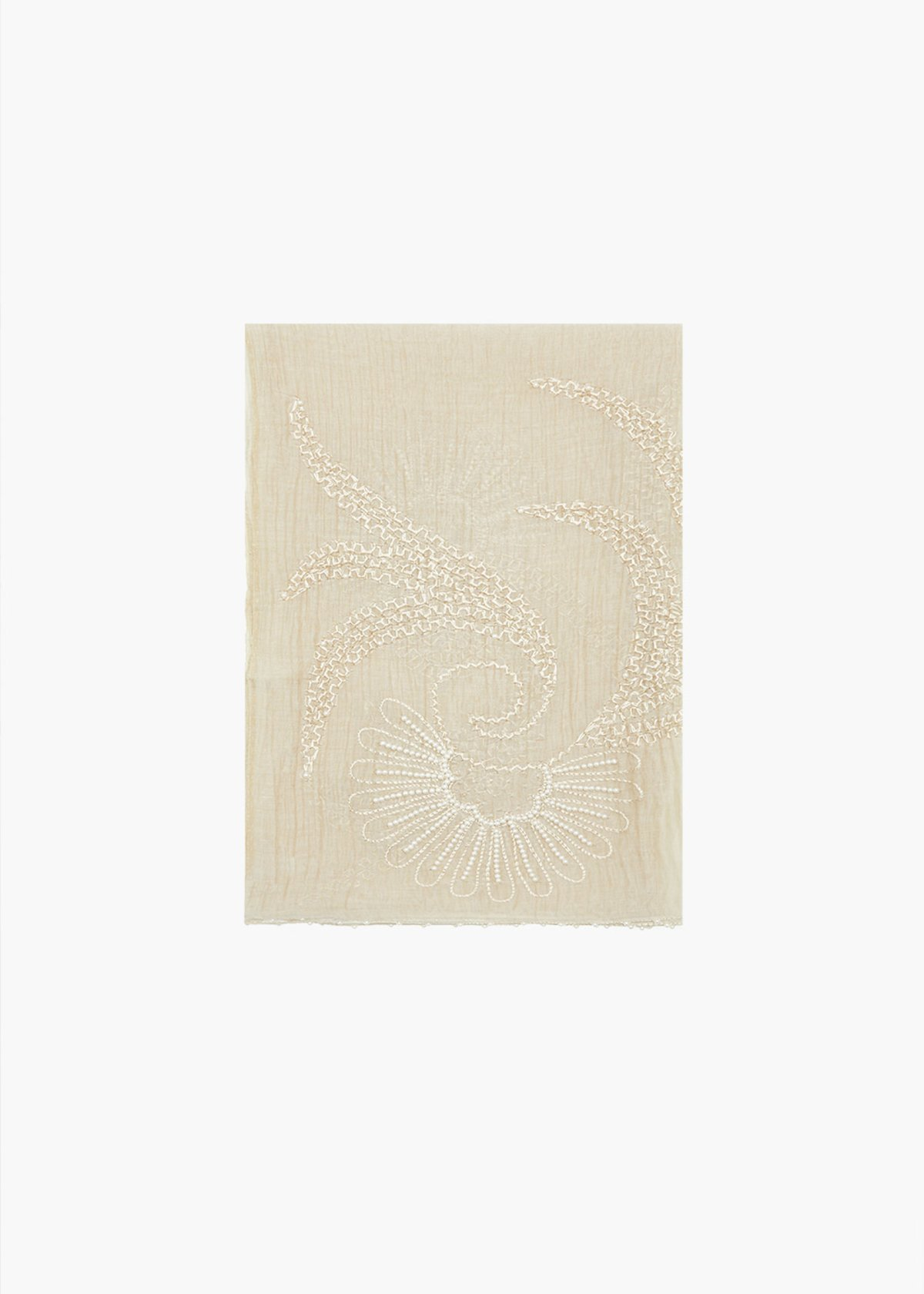 Sinen silk and cotton scarf with embroidery and beading pattern - Sage Green - Woman