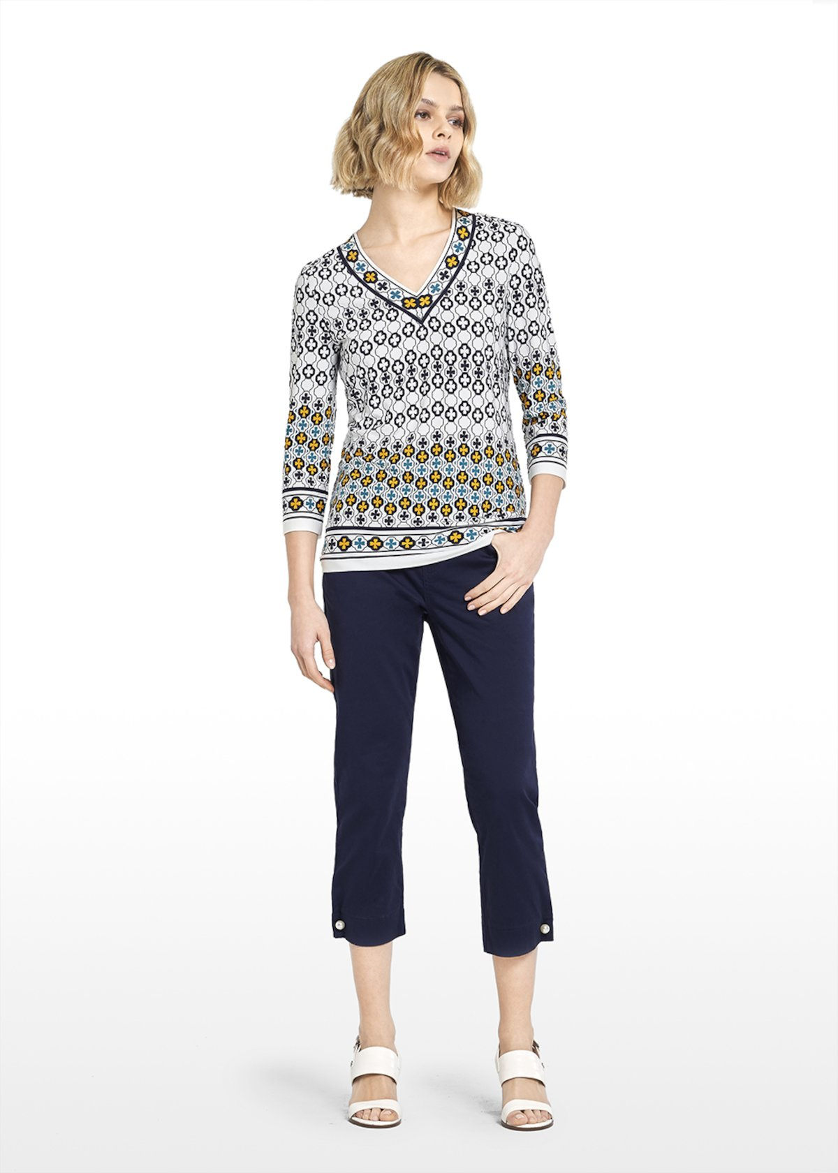 Mosaic pattern jersey Samel t-shirt - White / Blue Fantasia - Woman