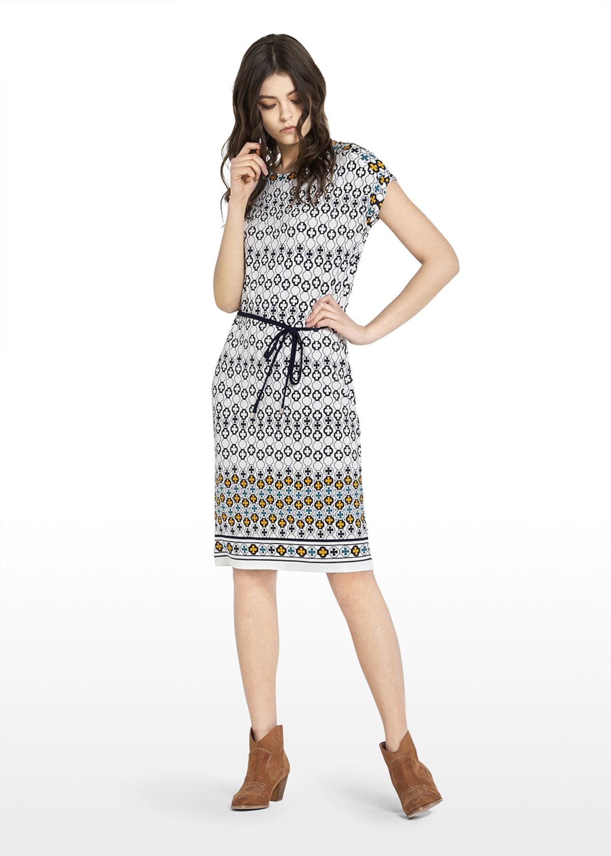 Mosaic pattern jersey Amel dress - White / Blue Fantasia - Woman