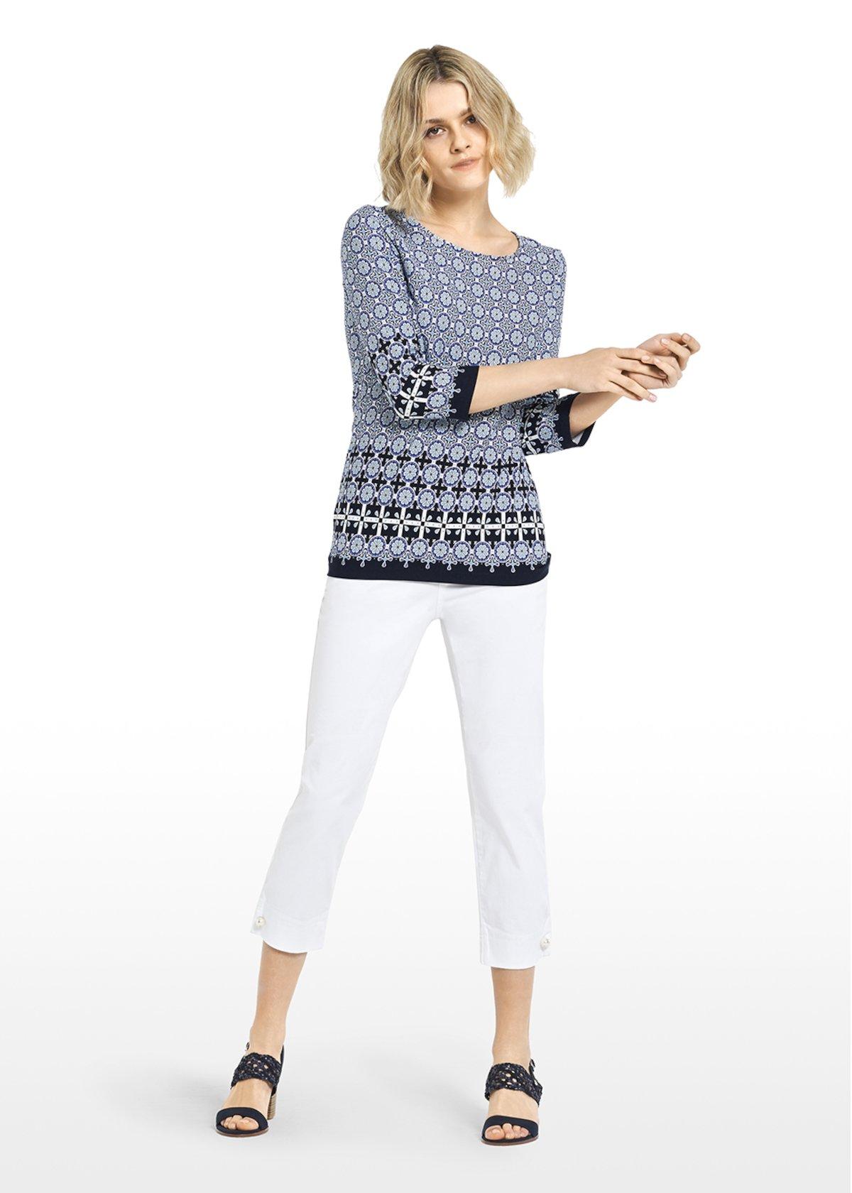 T-shirt Saril in jersey fantasia all-over ceramica - Linen / White / Fantasia - Donna - Immagine categoria
