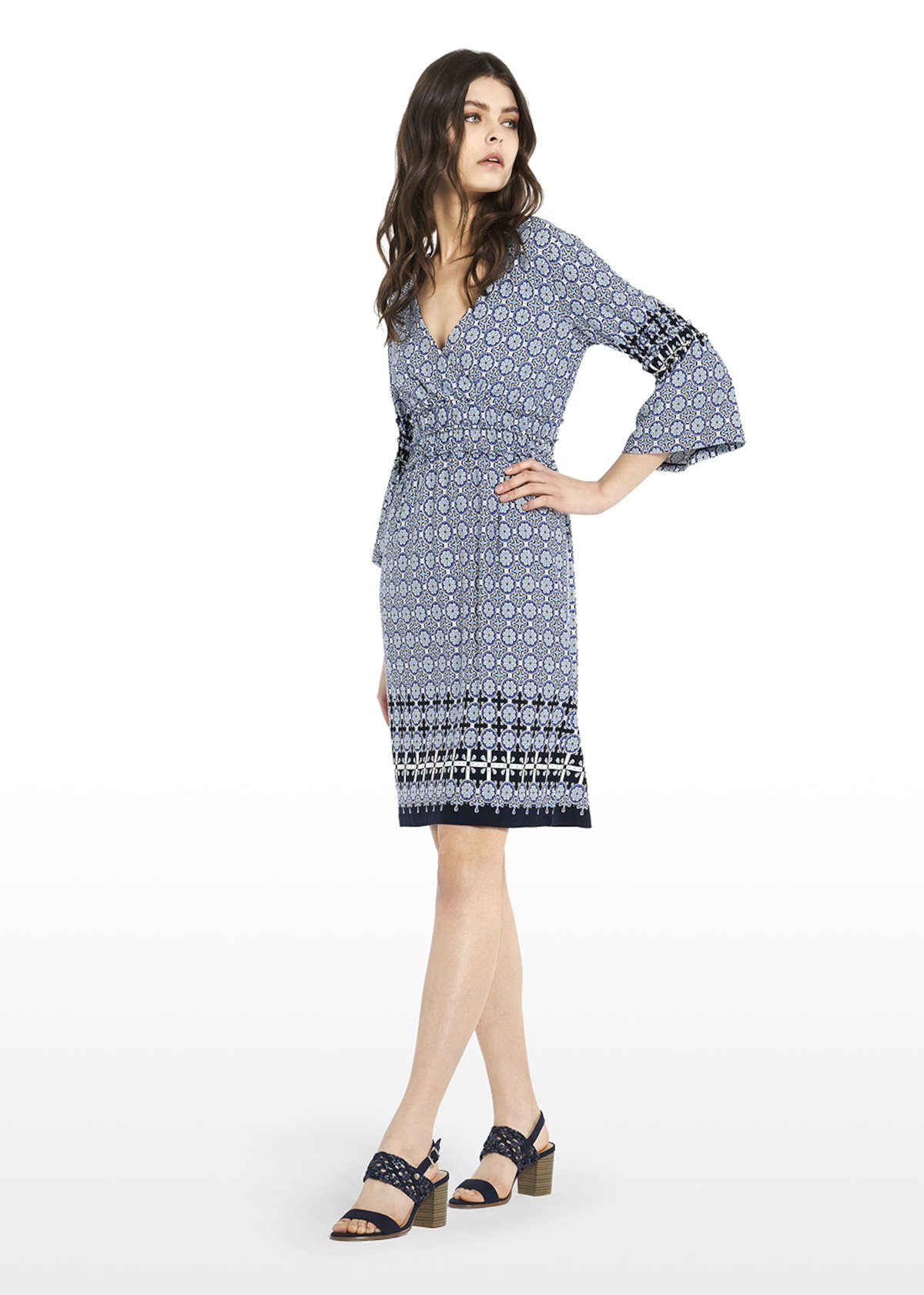 Aril faience pattern dress with V-neck - Linen / White / Fantasia - Woman