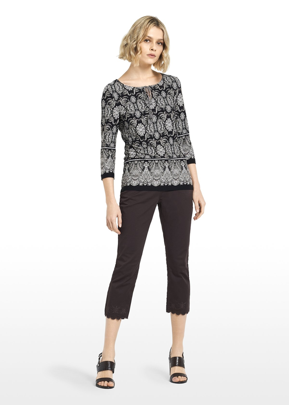 Sadar jersey t-shirt Paisley pattern with tassels - Black / White Fantasia - Woman