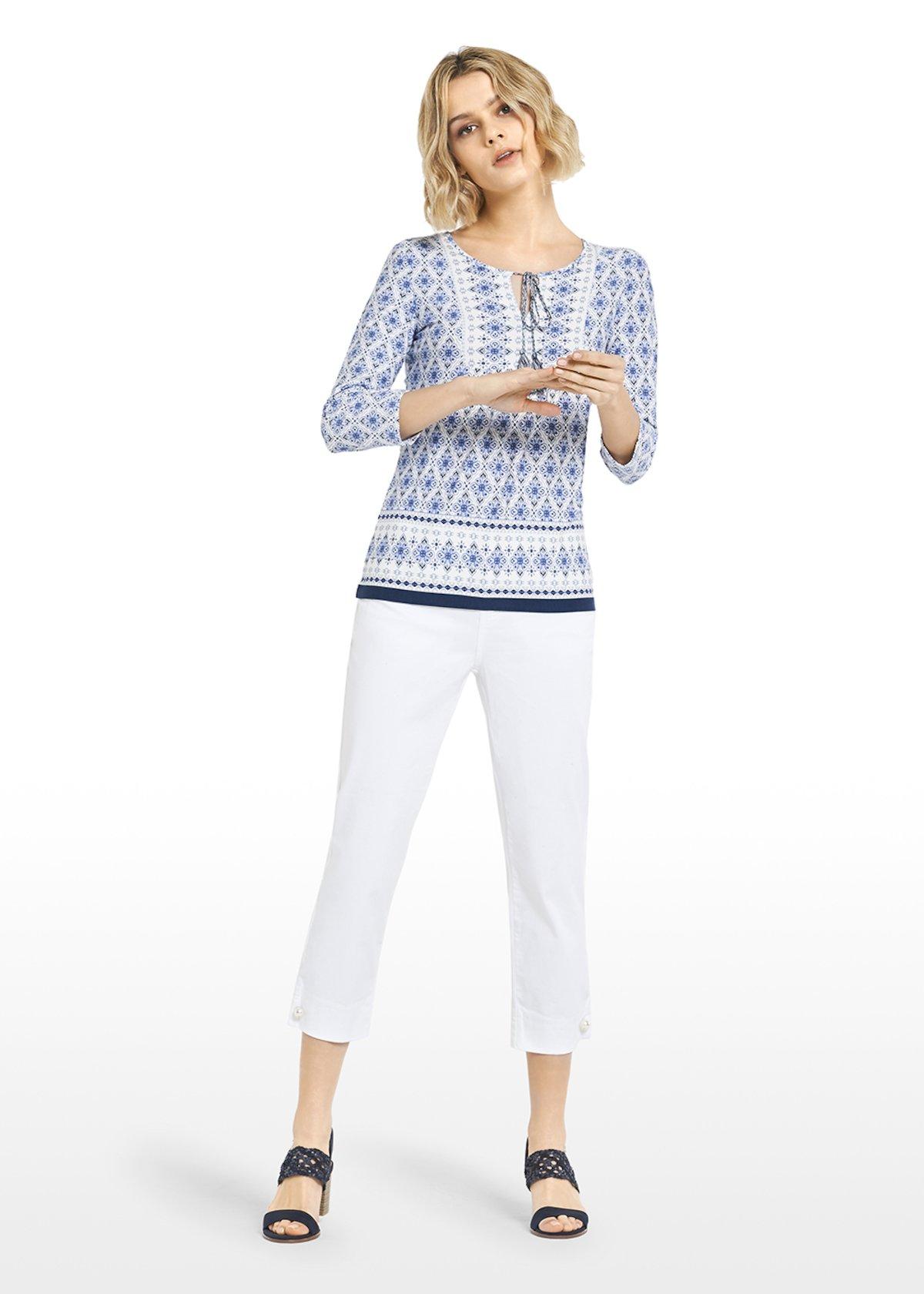 All over azulejo pattern jersey Saril t-shirt - White / Avion  Fantasia - Woman