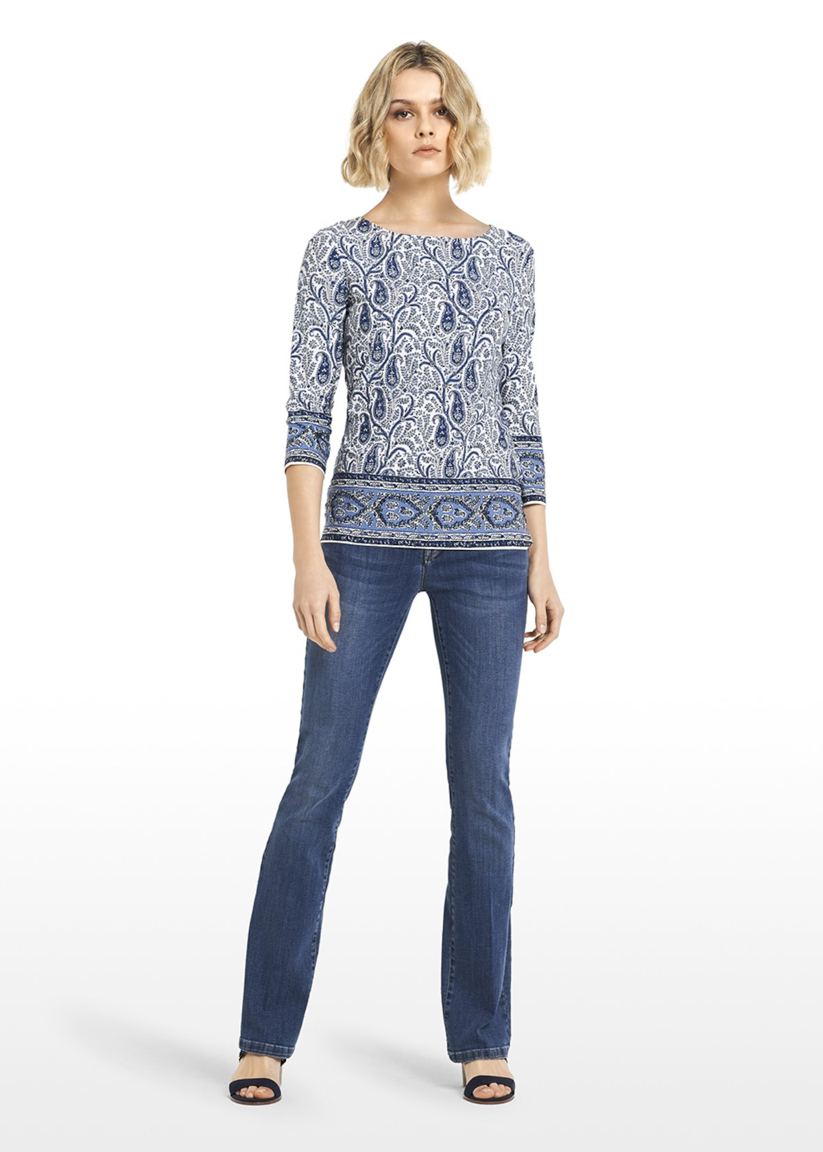 Paisley pattern jersey Safir t-shirt - White / Blue Fantasia - Woman - Category image