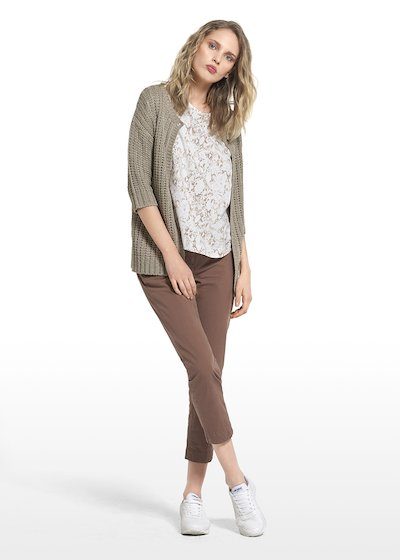 Cardigan Carlie with single button closure and with 3/4 sleeves