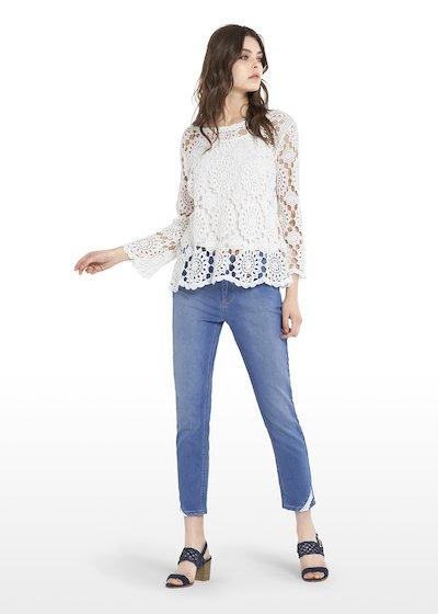 Suny crochet round neck t-shirt