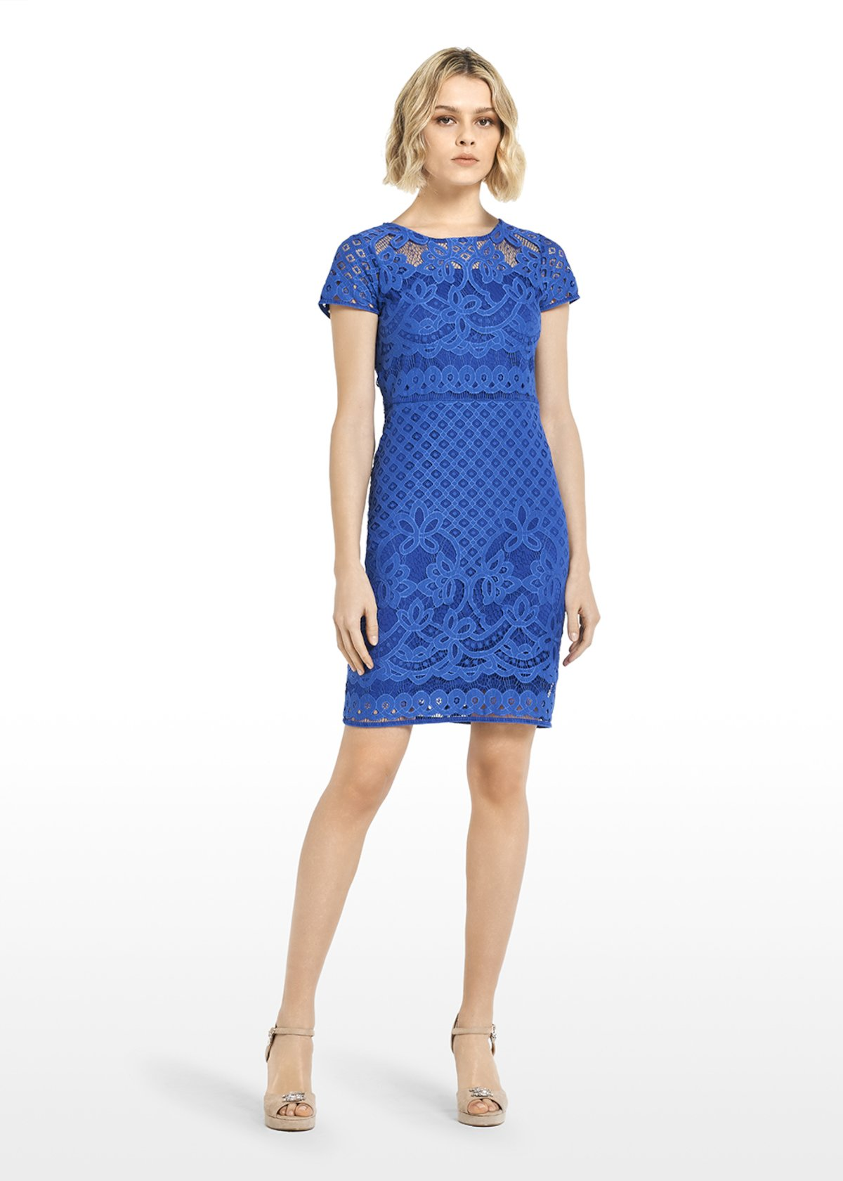 Amel dress lace effect mineral colour - Mineral - Woman