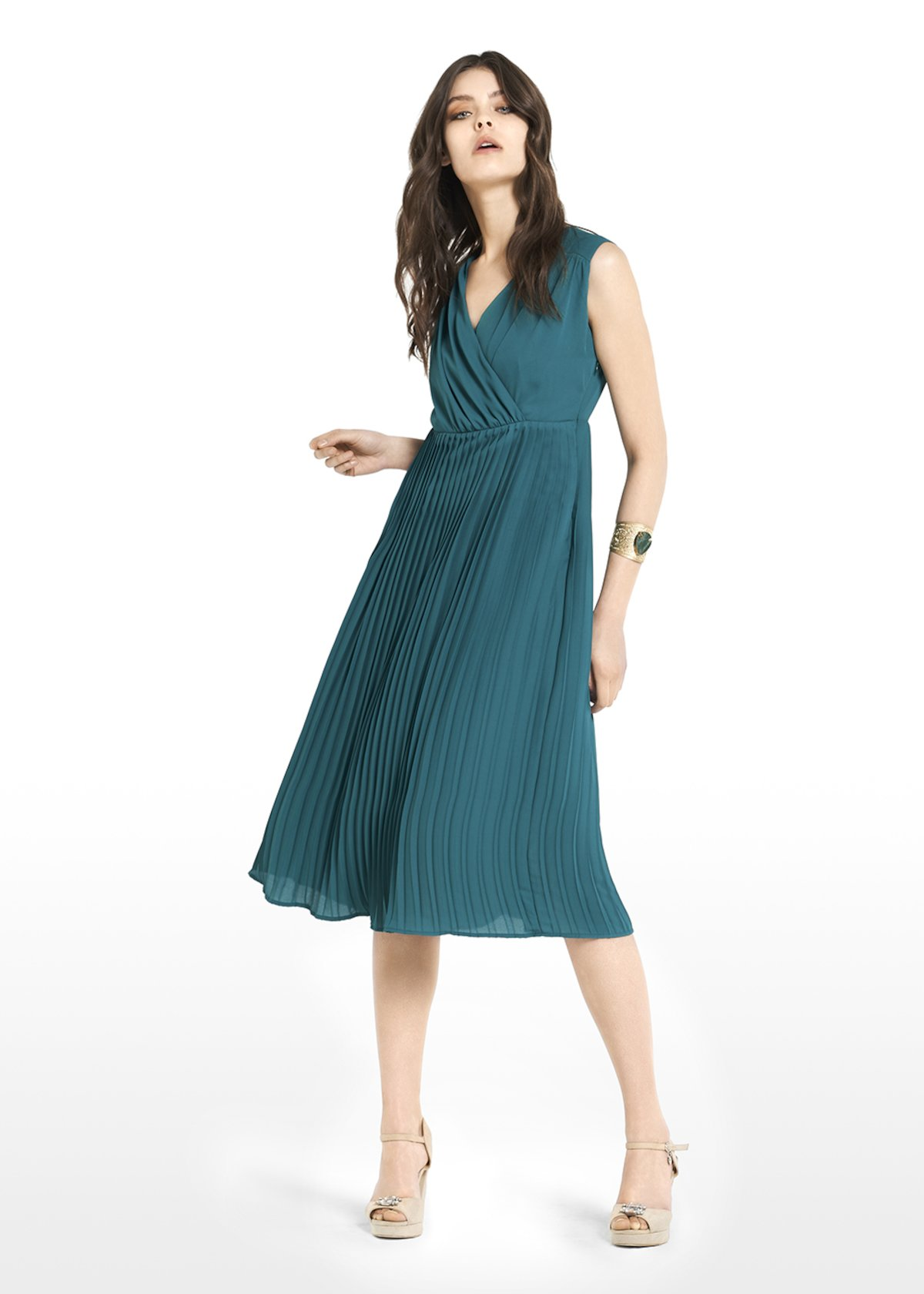 Andrey dress with crossover neckline and pleated skirt - Jungle - Woman