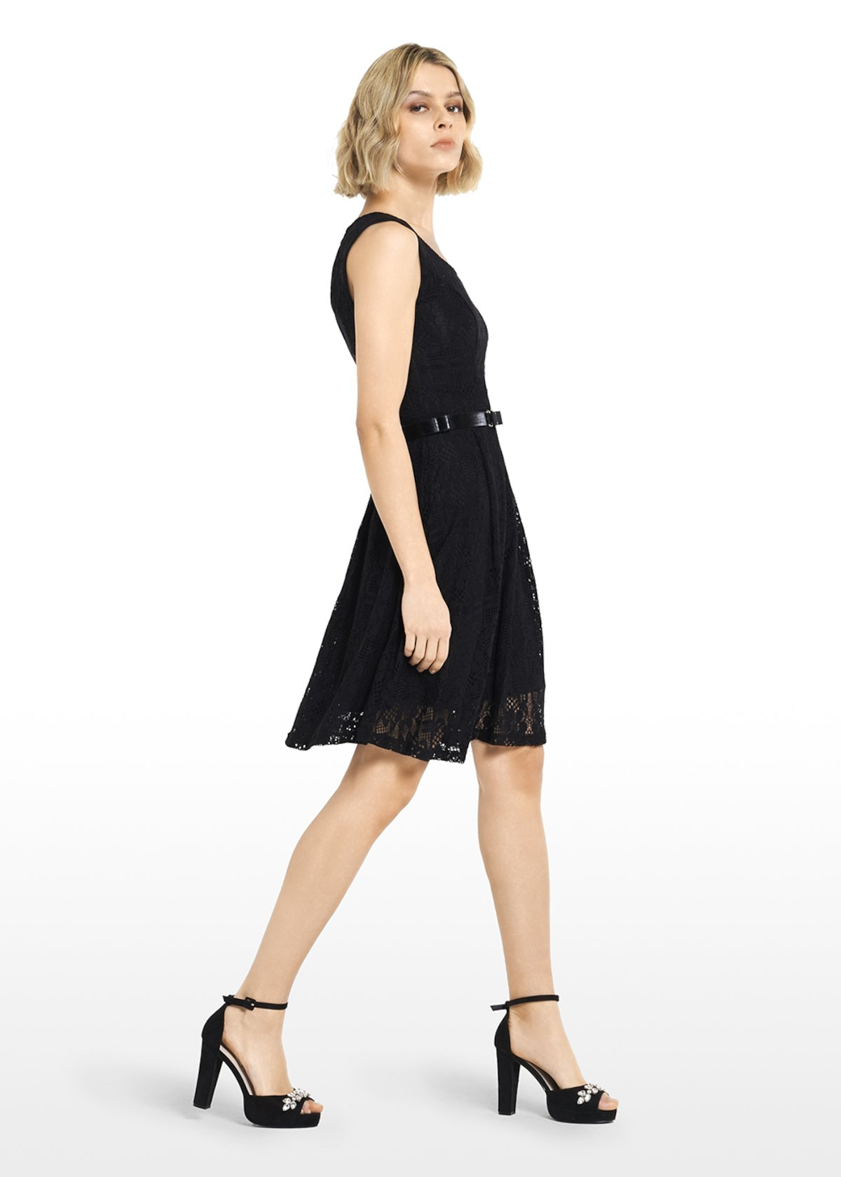 Lace Adil dress with full skirt - Black - Woman - Category image
