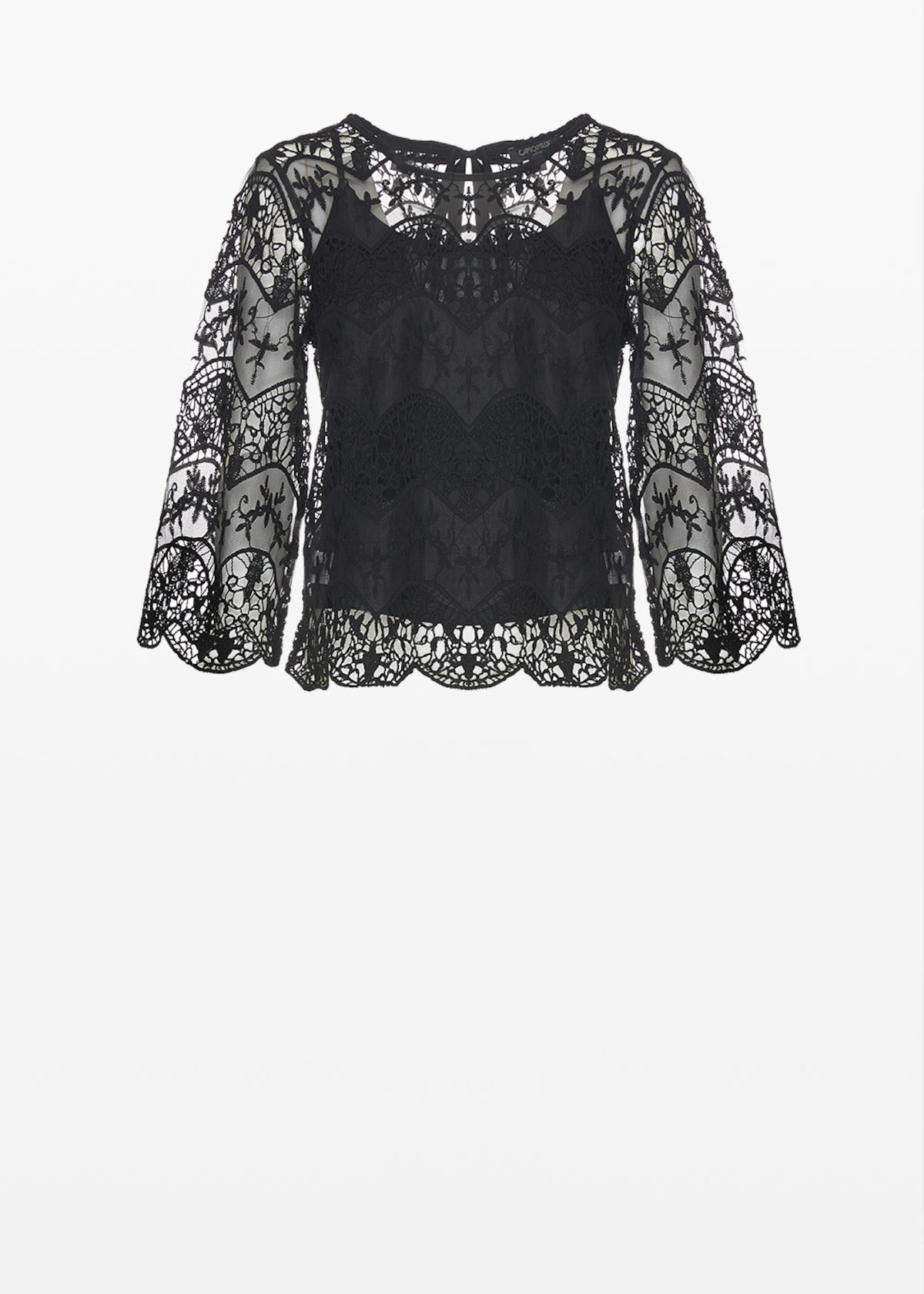 Sesil round neck and lace effect T-shirt  with bow at the back