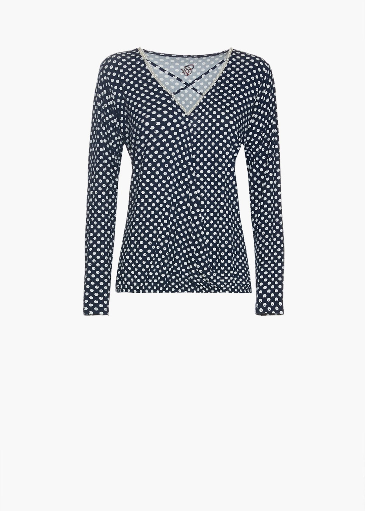 T-shirt Stasys in all over printed jersey with V-neckline - Medium Blue / White Pois - Woman