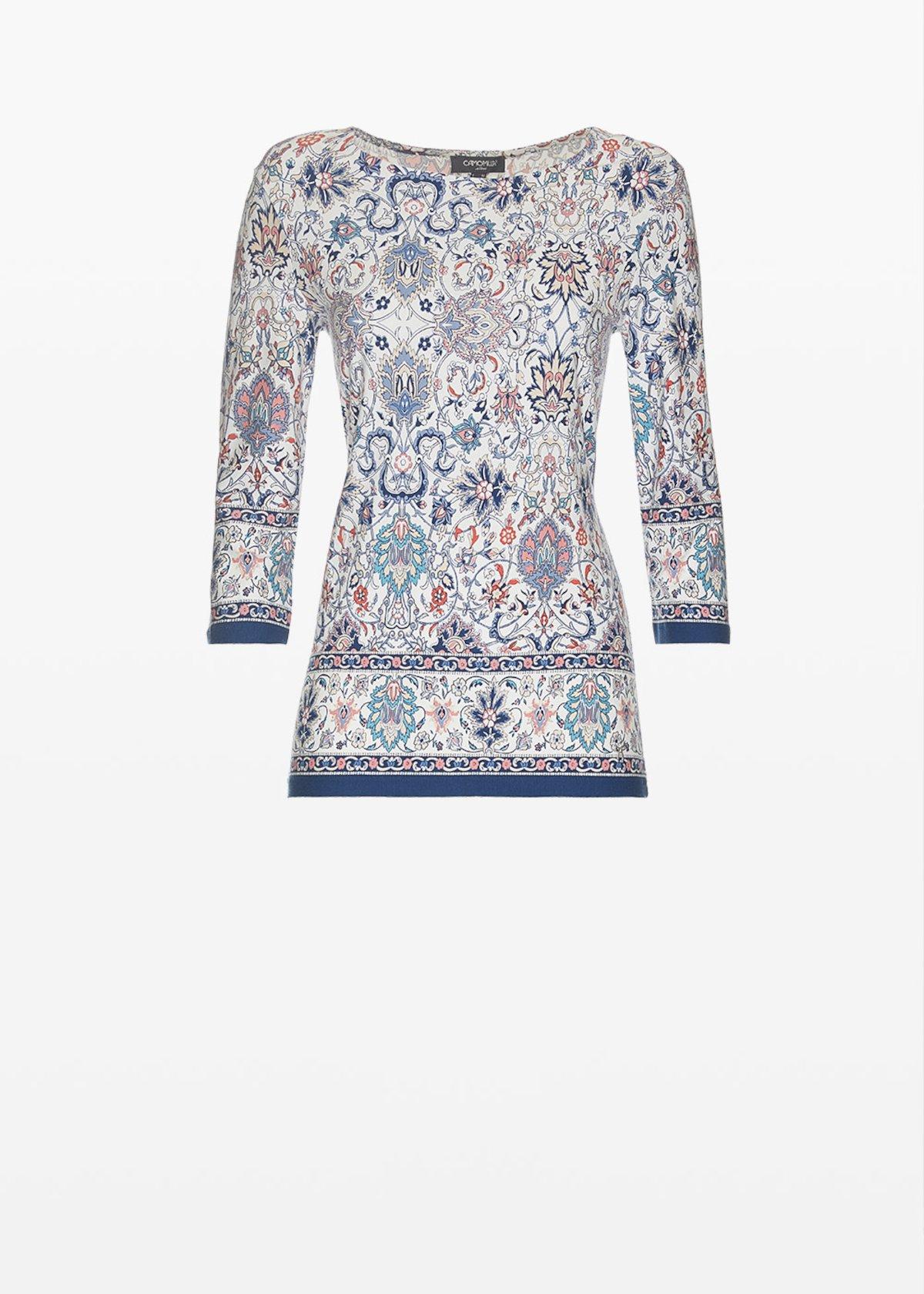 Semyl all over printed t-shirt - White / Blue Fantasia - Woman