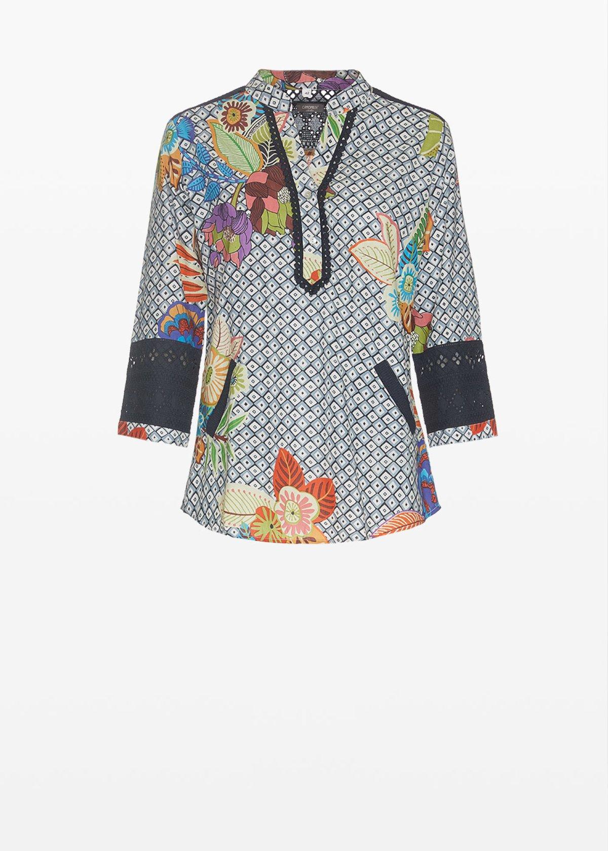Chis 3/4 sleeve blouse - Medium Blue / Miele / Fantasia - Woman