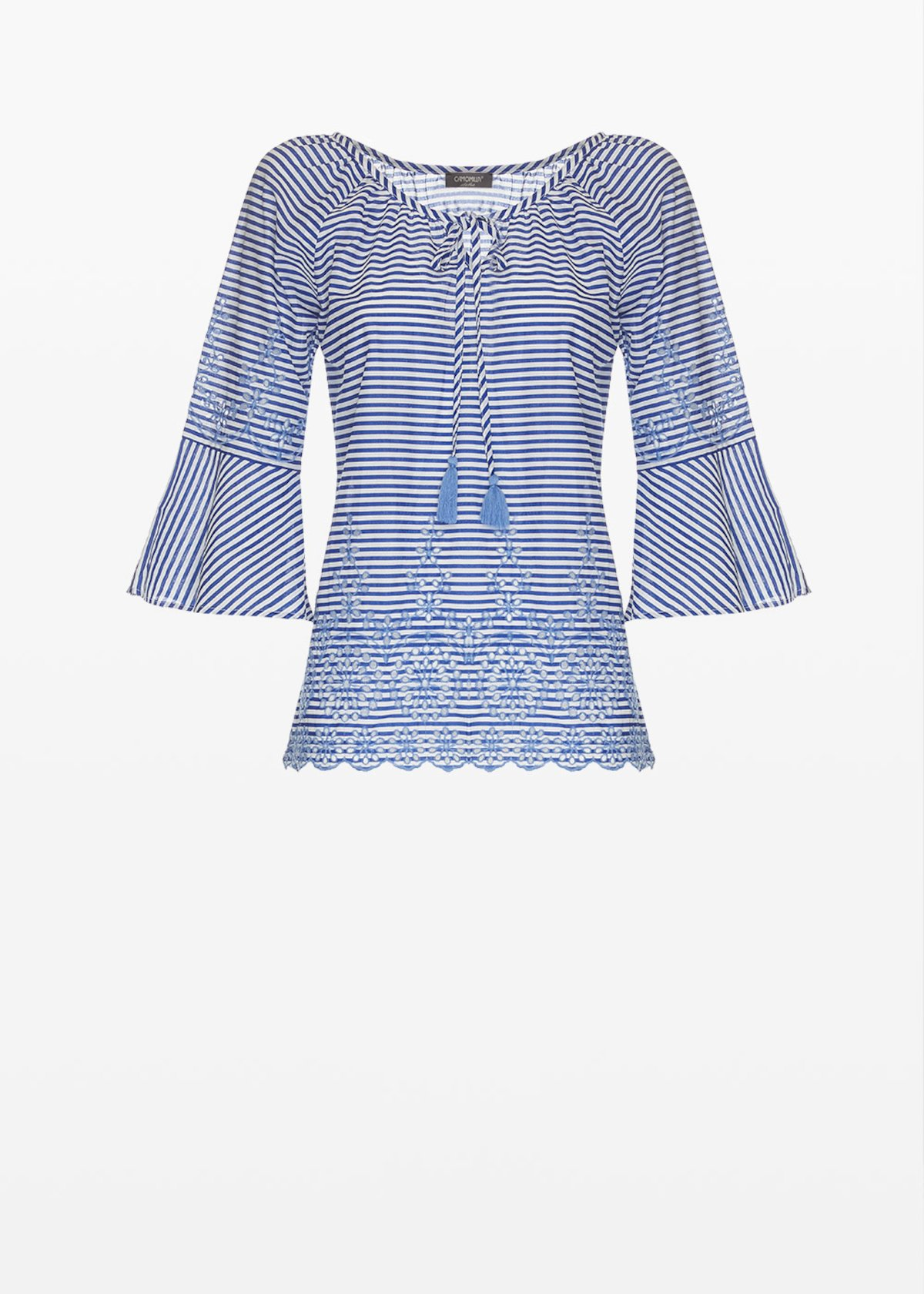 Cand blouse with lace embroidery - Mineral  / White / Stripes - Woman