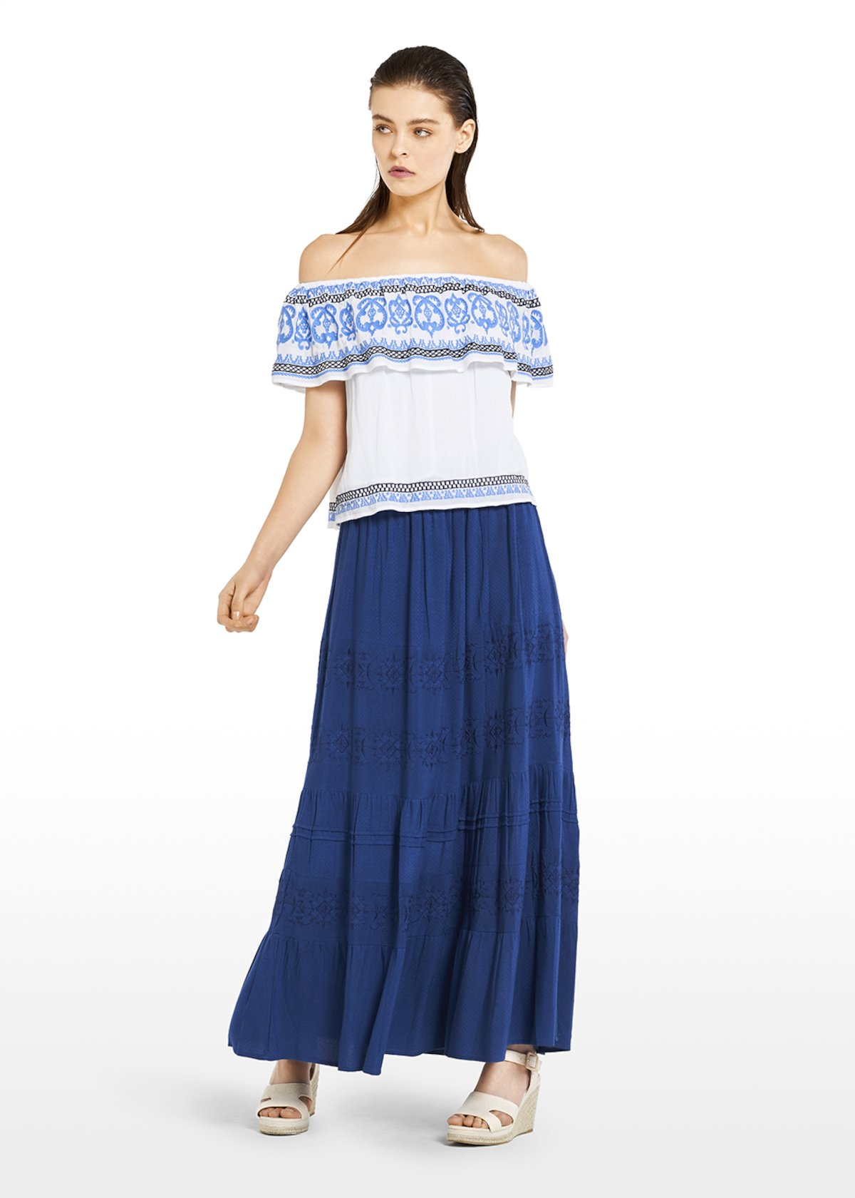 Tandy shoulder off top with flounce - White / Blue Fantasia - Woman