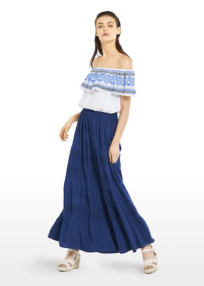 Gary long skirt with embroidery