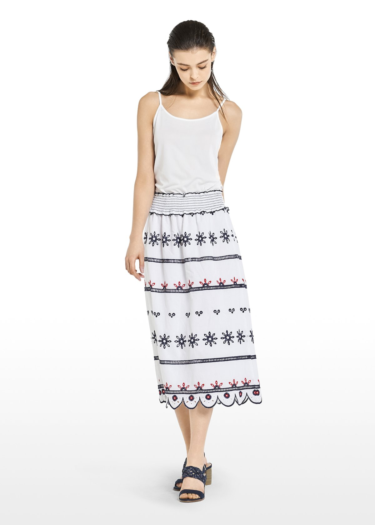 Gary long skirt with embroidery - White / Blue Fantasia - Woman