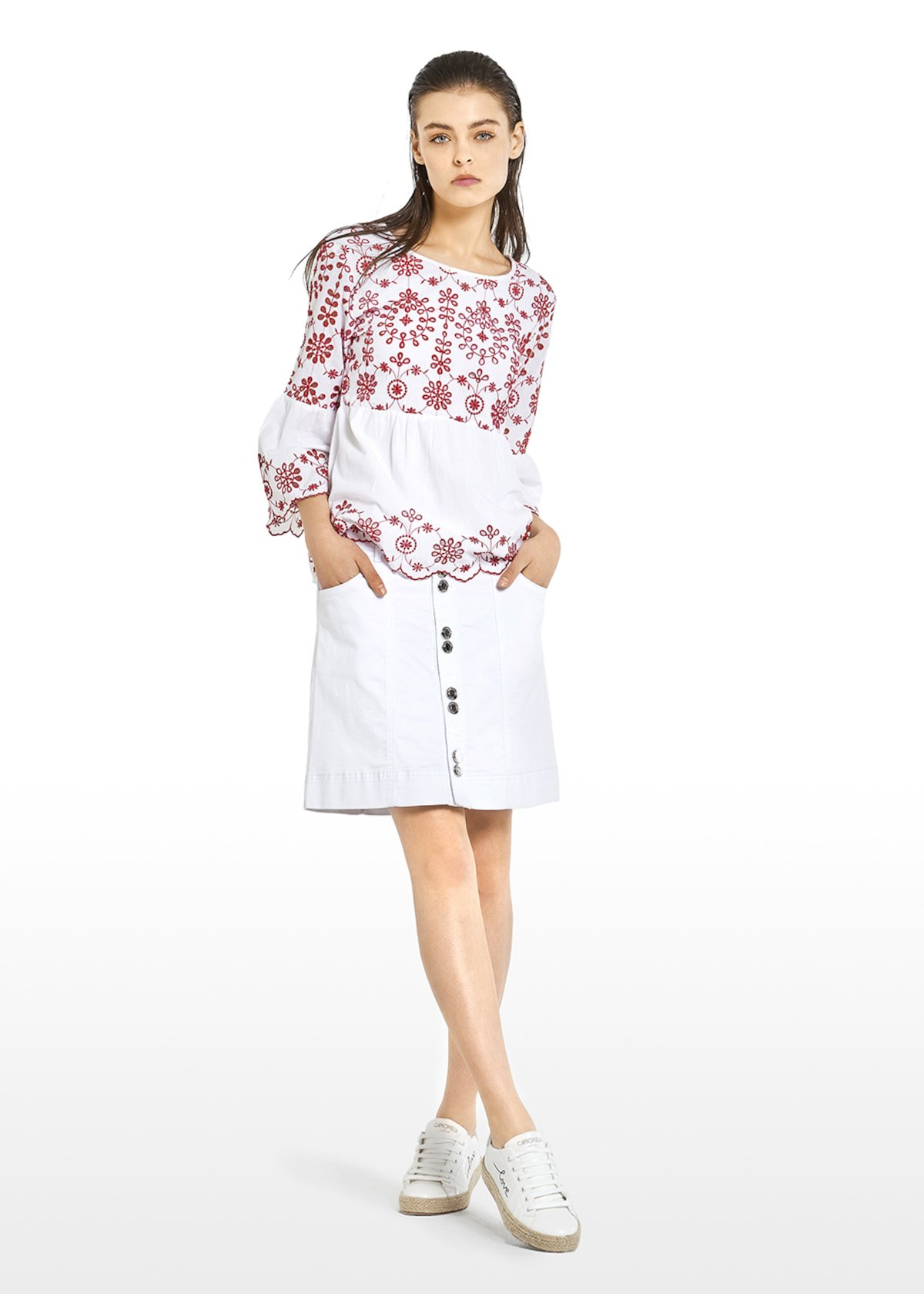 Cagy blouse with flounce - White / Tulipano Fantasia - Woman